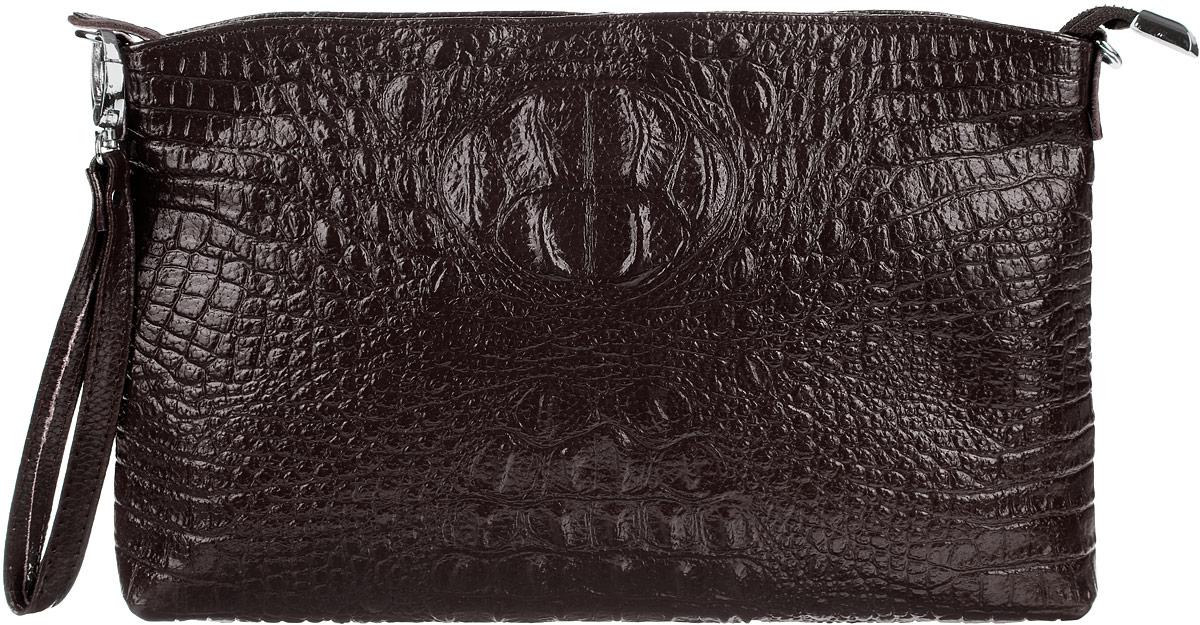 Сумка-клатч женская Cheribags, цвет: темно-коричневый. 618-20ML597BUL/DСтильная женская сумка-клатч Cheribags выполнена из натуральной кожи с тиснением под крокодила. Изделие имеет одно основное отделение, разделенное пополам карманом-средником на застежке-молнии. Закрывается сумка-клатч на застежку-молнию. Внутри расположены два накладных открытых кармана и прорезной карман на застежке-молнии. Снаружи, на задней стенке расположен прорезной карман на застежке-молнии. Изделие оснащено съемным регулируемым наплечным ремнем и съемным ремешком на запястье. Роскошная сумка-клатч внесет элегантные нотки в ваш образ и подчеркнет ваше отменное чувство стиля.