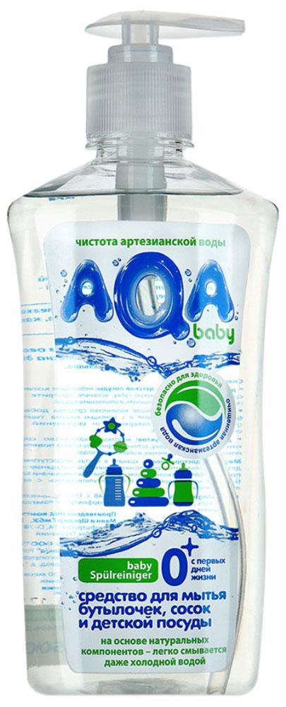 """Средство AQA baby для мытья детской посуды полностью безопасно для младенцев с первых дней жизни: специальная комбинация из нескольких мягких ПАВов эффективно удаляет пищевые загрязнения с детской посуды, сосок и т.д. При этом средство быстро и легко смывается водой, не оседая на посуде.  Подходит для мытья овощей и фруктов. Не раздражает кожу рук, не сушит кожу. Не содержит """"плохих"""" консервантов (формальдегидов и т.д.), фосфатов и красителей.  Не вызывает аллергии.     Характеристики:Объем: 500 мл. Артикул: 009401. Товар сертифицирован."""