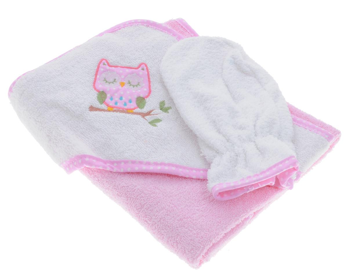 """Комплект для купания """"Фея"""", состоящий из полотенца с капюшоном и рукавицы для мытья. Изделия изготовлены из нежной, хорошо впитывающей влагу высококачественной махровой ткани (100% хлопка), обладающей легким массирующим эффектом и быстросохнущей. Полотенце, декорированное изображением забавной совы на капюшоне, позволяет полностью завернуть малыша и защитить его от простуды, а при помощи рукавички вы сможете деликатно помыть ребенка, не поцарапав его. Такой комплект идеально подходит для ухода за ребенком после купания. Размер полотенца: 75 см х 75 см. Размер рукавицы: 24 см х 15 см."""