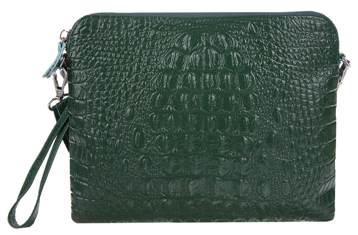 Сумка-клатч женская Cheribags, цвет: темно-зеленый. 2167-14S76245Стильная женская сумка-клатч Cheribags выполнена из натуральной кожи с тиснением под крокодила. Изделие имеет одно основное отделение, разделенное пополам карманом-средником на застежке-молнии. Закрывается сумка-клатч на застежку-молнию. Внутри расположен прорезной карман на застежке-молнии. Снаружи, на задней стенке расположен прорезной карман на застежке-молнии. Изделие оснащено съемным ремешком на запястье. В комплект входит съемный регулируемый наплечный ремень. Роскошная сумка-клатч внесет элегантные нотки в ваш образ и подчеркнет ваше отменное чувство стиля.