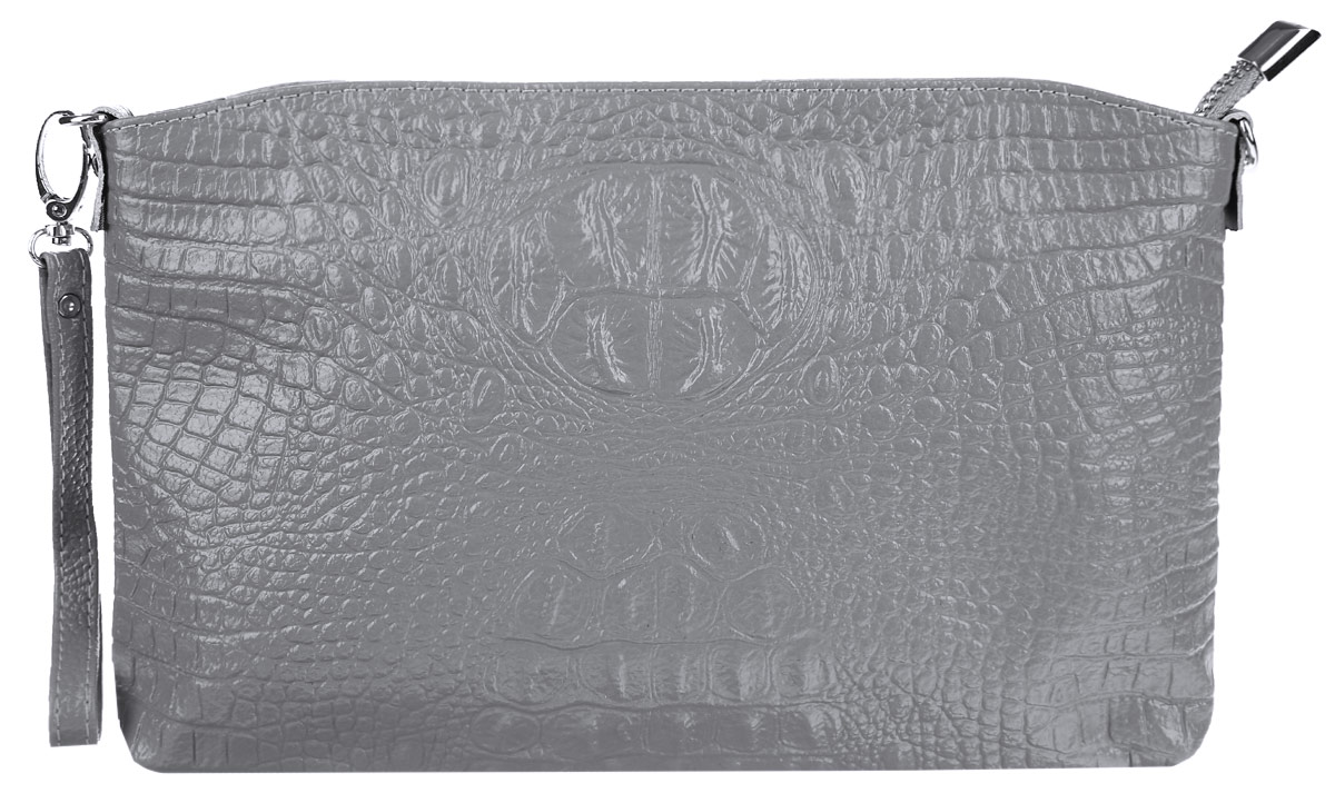 Сумка-клатч женская Cheribags, цвет: светло-серый. 619-21ML597BUL/DСтильная женская сумка-клатч Cheribags выполнена из натуральной кожи с тиснением под крокодила. Изделие имеет одно основное отделение, разделенное пополам карманом-средником на застежке-молнии. Закрывается сумка-клатч на застежку-молнию. Внутри расположены два накладных открытых кармана и прорезной карман на застежке-молнии. Снаружи, на задней стенке расположен прорезной карман на застежке-молнии. Изделие оснащено съемным ремешком на запястье. В комплект входит съемный регулируемый наплечный ремень.Роскошная сумка-клатч внесет элегантные нотки в ваш образ и подчеркнет ваше отменное чувство стиля.