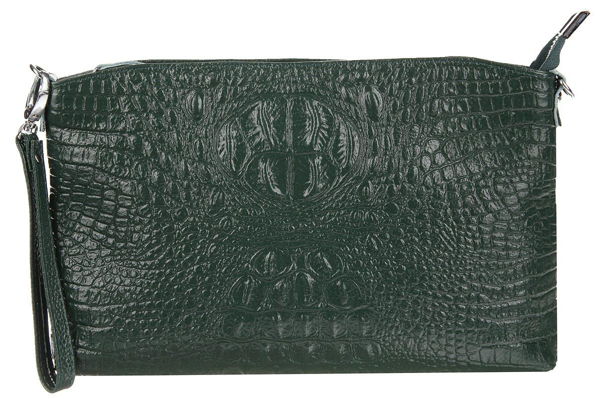 Сумка-клатч женская Cheribags, цвет: темно-зеленый. 619-14S76245Стильная женская сумка-клатч Cheribags выполнена из натуральной кожи с тиснением под крокодила. Изделие имеет одно основное отделение, разделенное пополам карманом-средником на застежке-молнии. Закрывается сумка-клатч на застежку-молнию. Внутри расположены два накладных открытых кармана и прорезной карман на застежке-молнии. Снаружи, на задней стенке расположен прорезной карман на застежке-молнии. Изделие оснащено съемным ремешком на запястье. В комплект входит съемный регулируемый наплечный ремень. Роскошная сумка-клатч внесет элегантные нотки в ваш образ и подчеркнет ваше отменное чувство стиля.