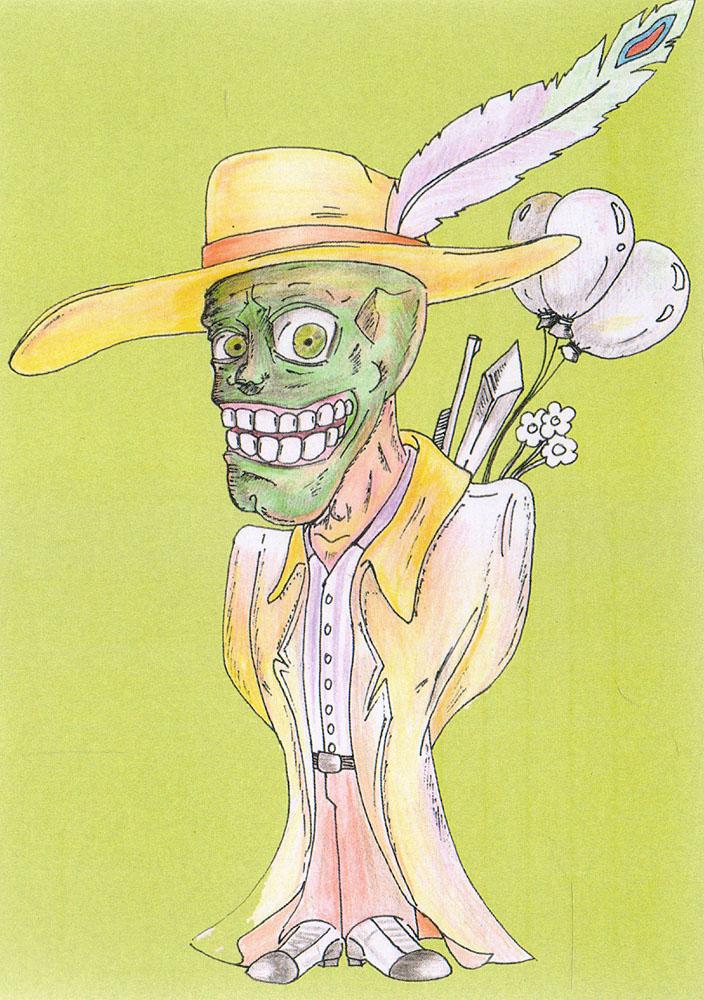 Маска. ОткрыткаБрелок для ключейДизайнерская открытка.На лицевой стороне находится изображение персонажа из фильма Маска.Автор рисунка - Роман Рощин.Размер: 14.7 х 10.5 см.
