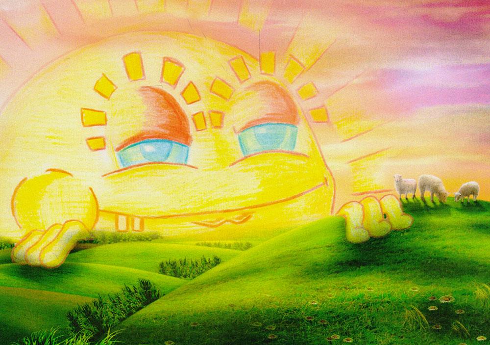 Открытка ЗакатБрелок для ключейДизайнерская открытка. На лицевой стороне находится изображение солнца. Набросок, скетч.Автор рисунка - Роман Рощин.Размер открытки: 10.5 х 15 см.