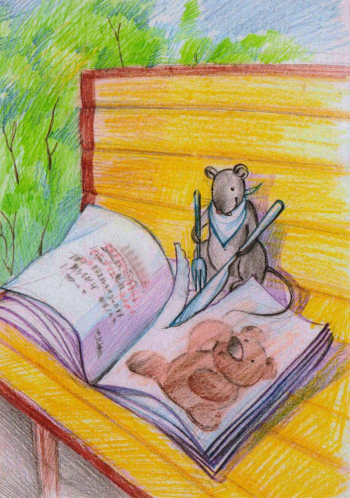 Открытка ОбедОТКР №275Дизайнерская открытка. На лицевой стороне находится изображение мышки с книжкой. Набросок, цветные карандаши.Автор рисунка - Анастасия Панкова.Размер открытки: 10.5 х 15 см.