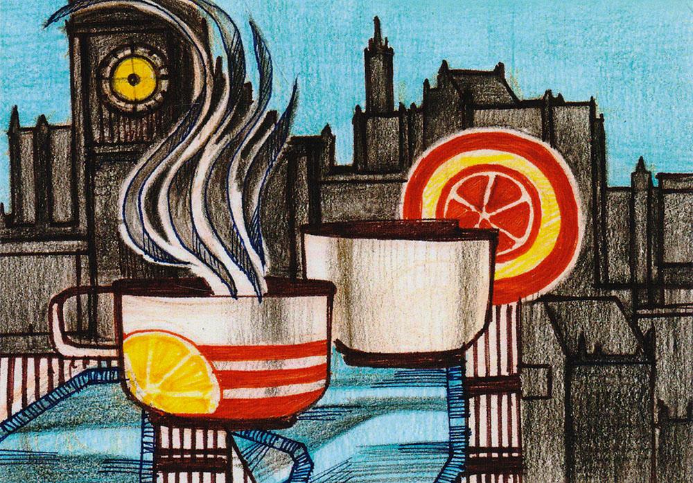 Открытка Завтрак1235416Дизайнерская открытка. На лицевой стороне находится абстрактное изображение завтрака. Набросок, карандаш.Автор рисунка - Анастасия Панкова.Размер открытки: 10.5 х 15 см.