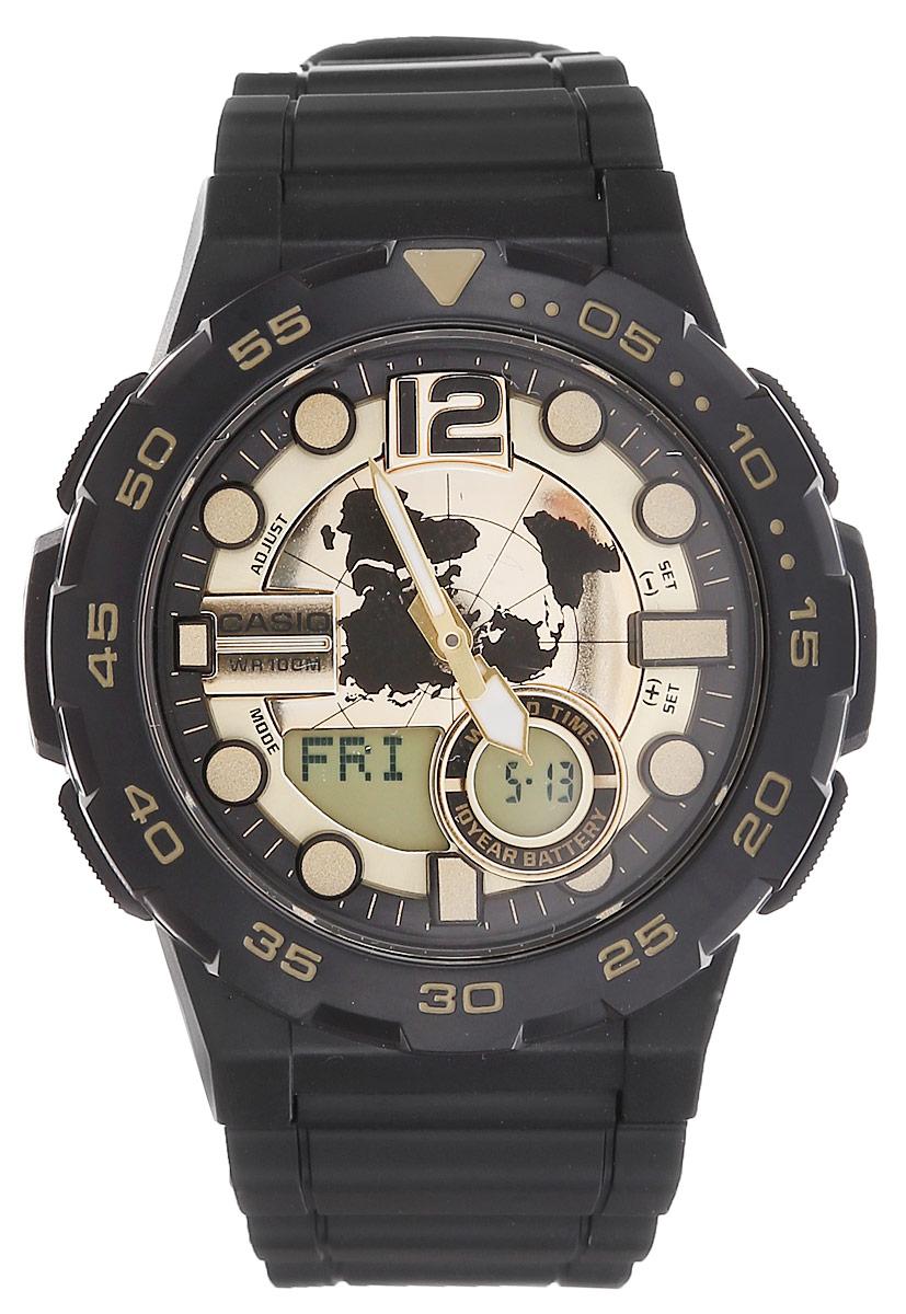 Часы наручные мужские Casio Collection, цвет: черный, золотой. AEQ-100BW-9ABM8434-58AEМногофункциональные мужские часы Casio Collection, выполнены из минерального стекла, металлического сплава и полимерного материала. Корпус часов оформлен символикой бренда.Часы оснащены ударопрочным корпусом с электронно-механическим механизмом, имеют степень влагозащиты равную 10 BAR, а также дополнены устойчивым к царапинам минеральным стеклом.Браслет часов оснащен застежкой-пряжкой, которая позволит с легкостью снимать и надевать изделие. Корпус часов оснащен стрелками с светящимся составом.Дополнительные функции: таймер, будильник, функция повтора будильника, секундомер, функция мирового времени, автоматический календарь, отображение времени в 12-часовом или 24-часовом формате. Часы дополнены оригинальной и практичной функцией записная книжка, которая позволит сохранить 30 записей. Каждая запись может включать в себя текст из 8 букв и 12 цифр.Часы поставляются в фирменной упаковке.Многофункциональные часы Casio Collection подчеркнут отменное чувство стиля своего обладателя.