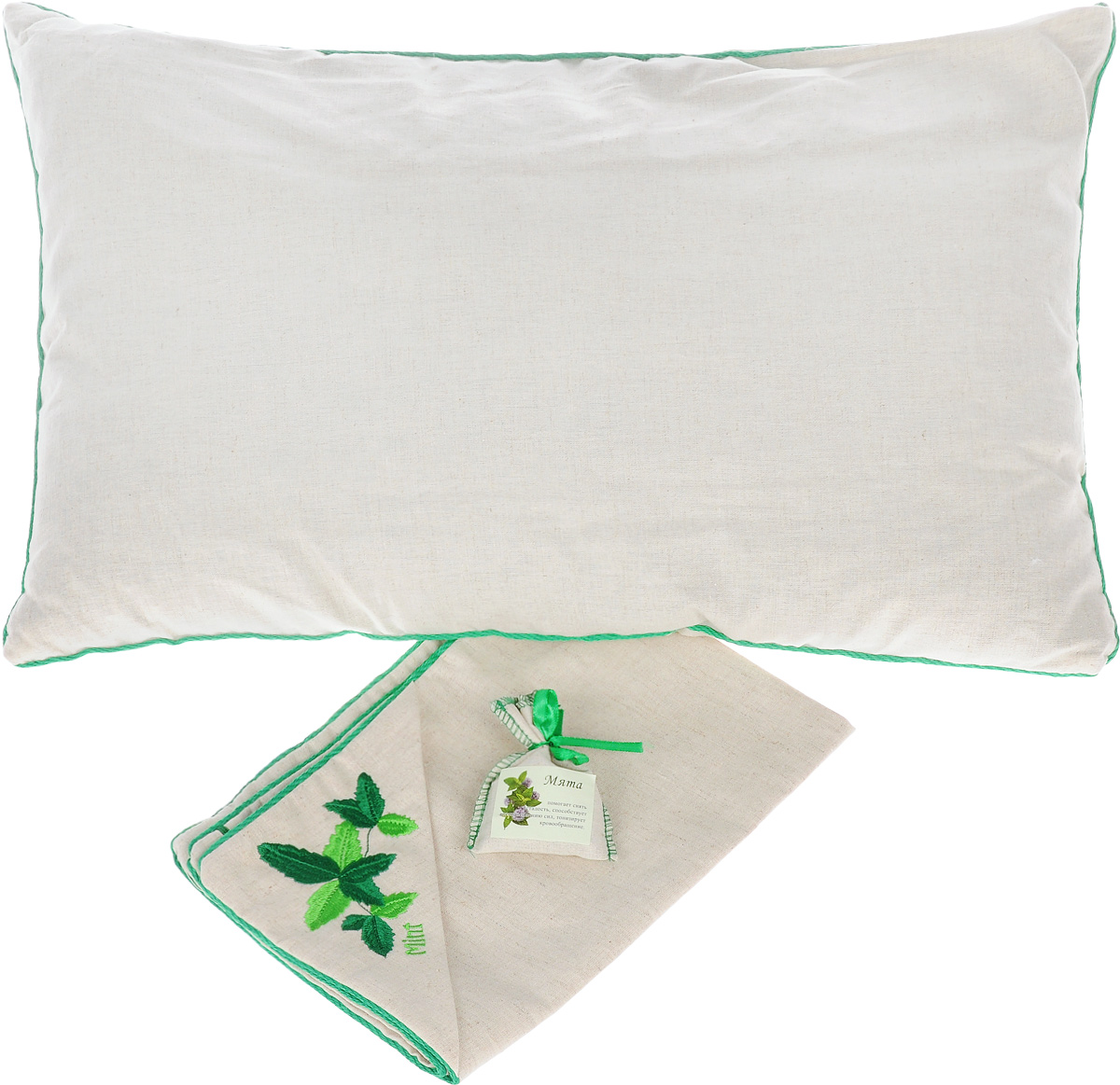 Подушка Smart Textile Традиция здоровья, с наволочкой, с мешочком мяты, 40 х 60 смЕ908Подушка Smart Textile Традиция здоровья - идеальный подарок для любимого человека. Чехол и наволочка выполнены изо 100% льна, наволочка оформлена оригинальной вышивкой в виде мяты, окантована и застегивается на аккуратную молнию-застежку. В комплект входит миниатюрный льняной мешочек с мятой на атласной завязке-ленте. Тонкий аромат мяты принесет нотки природы в вашу спальню. Такой аромат был выбран не случайно. Во сне мы проводим значительную часть нашей жизни и именно от качества сна будет зависеть наше самочувствие и продуктивность нового дня. Поэтому особенно важно выбрать для себя постельные принадлежности, чтобы они были не только удобными, но и полезными. Мята богата ментолом (содержится в листьях растения), который помогает снять усталость, головную боль, тонизирует кровообращение, обладает антисептическими свойствами, благотворно влияет на иммунную систему, снижая риск простудных и вирусных заболеваний.Не случаен и выбор наполнителя для подушки – лепестки лузги гречихи. Это природный гипоаллергенный наполнитель, который очень часто используют для набивки подушек. Такой наполнитель полый, легкий, благодаря чему позволяет воздуху циркулировать внутри подушки, сохраняя комфортную температуру и не накапливает пыль, не вызывает аллергии. Сыпучесть придает подушке необходимое естественное положение головы и шеи, что делает ваш сон максимально комфортным и полезным. А благодаря своей трехгранной структуре лузга гречихи обеспечивает микромассаж головы и шеи во время сна. Вы проснетесь бодрым и свежим, открытым для нового дня. Кроме того лузга обладает антистатическим действием. В отличие от синтетического, натуральный наполнитель не магнитит волосы и не трещит. Рекомендации по уходу: Подушка упакована в пластиковую сумку-чехол на застежке-молнии с ручкой для комфортной переноски и хранения. Рекомендации по уходу: - Стирка запрещена,- Нельзя отбеливать,- Не гладить,- Химчистка тольк