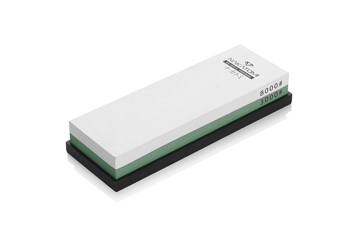 Камень точильный Nakatomi водный комбинированный #3000/#8000 . BN 3800/U68/5/3Предназначен для правки и полировки режущей кромки кухонных ножей. Внимательно ознакомьтесь с инструкцией по эксплуатации! В комплектацию входит резиновая платформа (против скольжения). Водный комбинированный #3000/#8000