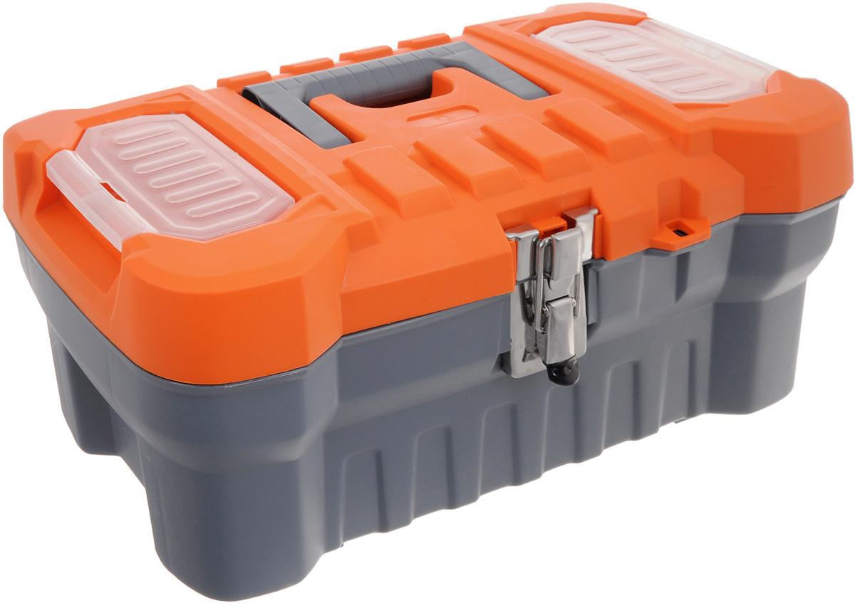 Ящик для инструментов Blocker Expert 16, с органайзером, цвет: серый, оранжевый, 41 х 21 х 17,5 см133566Ящик Blocker Expert 16 изготовлен из прочного пластика и предназначен для хранения и переноски инструментов. Также ящик подходит для хранения рыболовных снастей, рукоделия и медикаментов. Вместительный ящик внутри имеет большое главное отделение. В комплект входит съемный лоток с ручкой для инструментов. Для более комфортного переноса в руках, на крышке предусмотрена удобная ручка. Крышка ящика оснащена двумя прозрачными органайзерами, которые закрываются на защелку.Ящик закрывается при помощи металлического замка, который не допускает случайного открывания. Размер лотка: 39 х 16 х 5 см. Размер органайзера: 12 х 6,5 см.