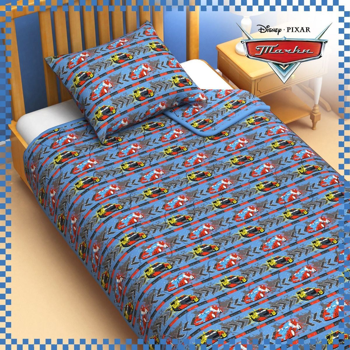 Disney Одеяло 1,5 спальное Тачки 140 х 205 см 1153172 - Детский текстиль
