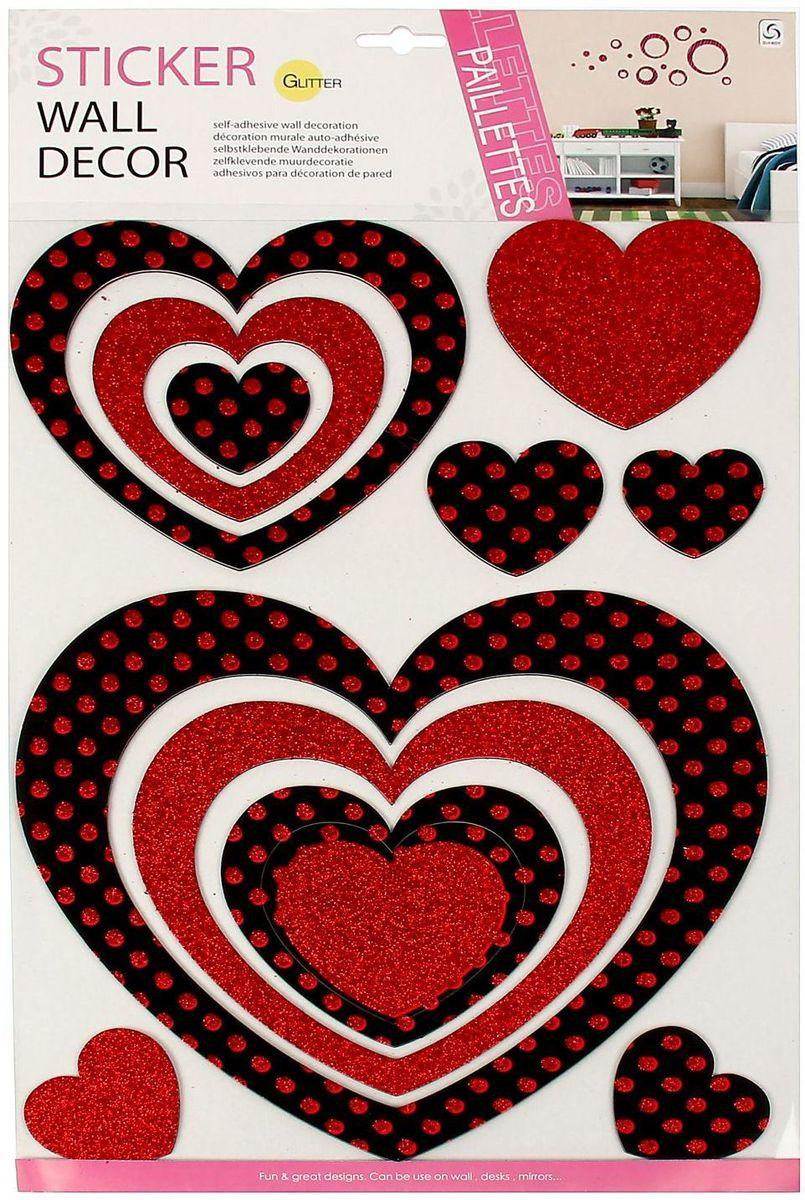 Wall Decor Наклейка интерьерная Сердце с блестками
