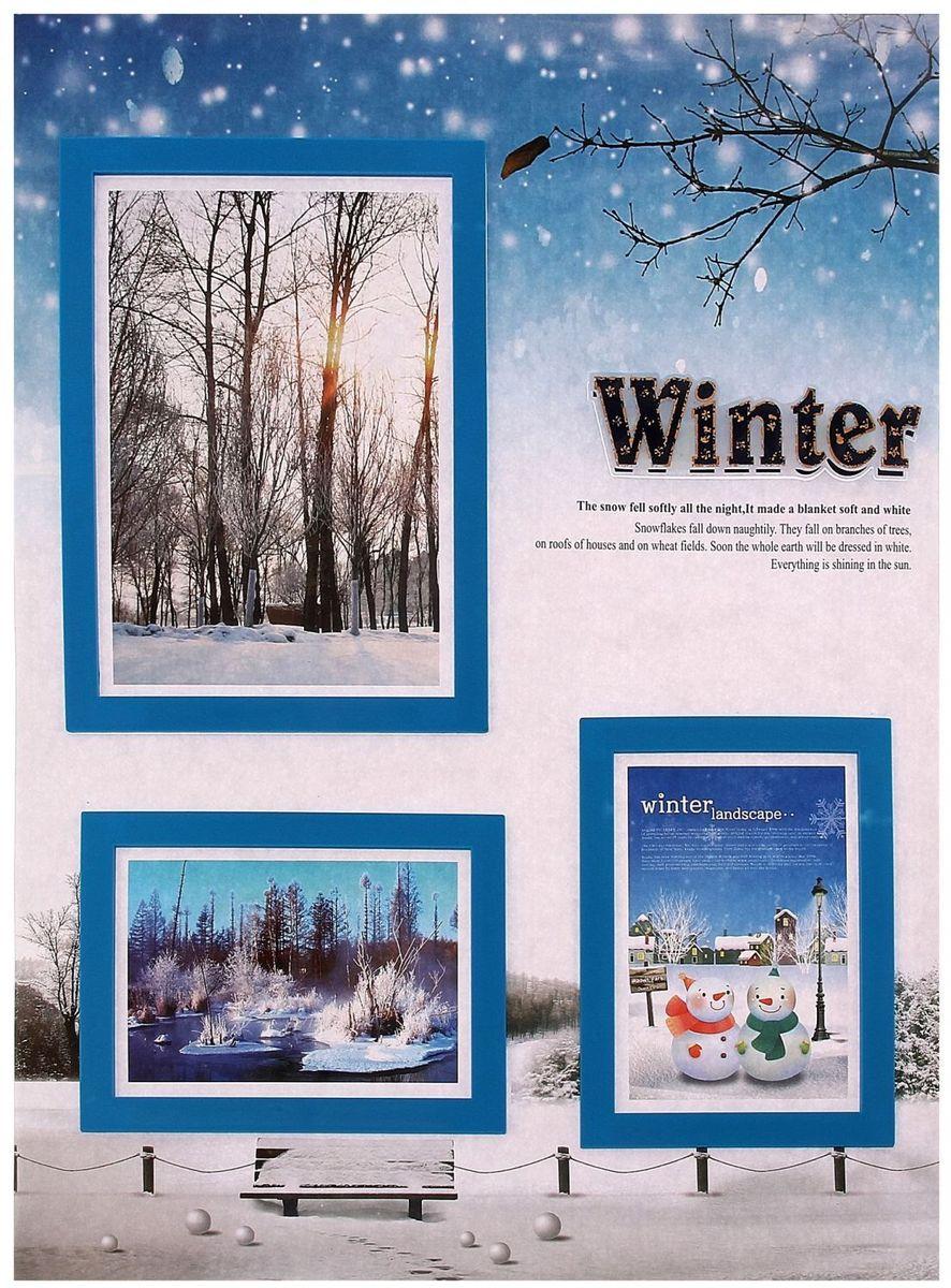 Room Decor Наклейка-фоторамка интерьерная на 3 фото Зима угловые шкафы в спальню фото маленькие