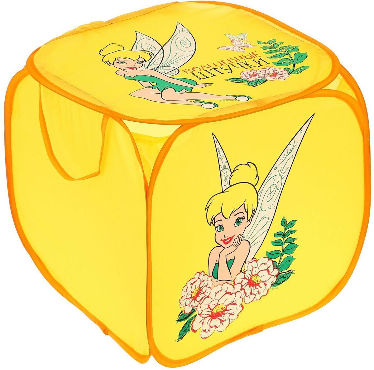 Disney Корзина для хранения Волшебные штучки ФеиС81101С Disney уборка веселей! Квадратная корзина с героями любимого мультфильма приведёт ребёнка в восторг: малыш сам будет прибирать игрушки без лишних напоминаний! Изделие дополнено двумя ручками, за которые куб можно подвесить или перемещать с места на место. Крышка с красочным изображением известного персонажа Disney защитит содержимое корзины от пыли и других загрязнений.