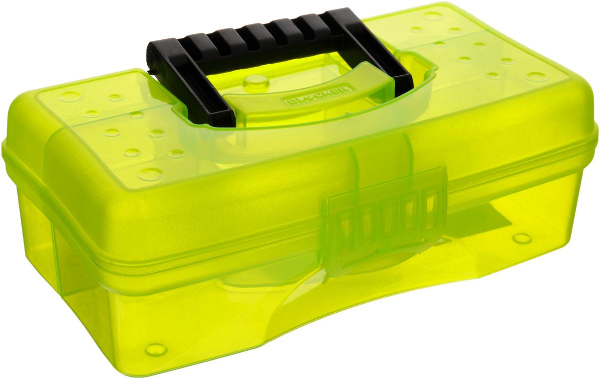 Органайзер Blocker Hobby Box, цвет: салатовый, черный, 23,5 х 13 х 8 смES-412Органайзер Blocker Hobby Box изготовлен из высококачественного прочного пластика и предназначен для хранения и переноски небольших инструментов, рыболовных принадлежностей и различных мелочей. Оснащен 4 секциями. Надежно закрывается при помощи пластмассовой защелки. На крышке имеется ручка для удобной переноски изделия.Размер самой большой секции: 22,5 х 7 х 5,5 см.Размер самой маленькой секции: 6,5 х 4,5 х 5,5 см.