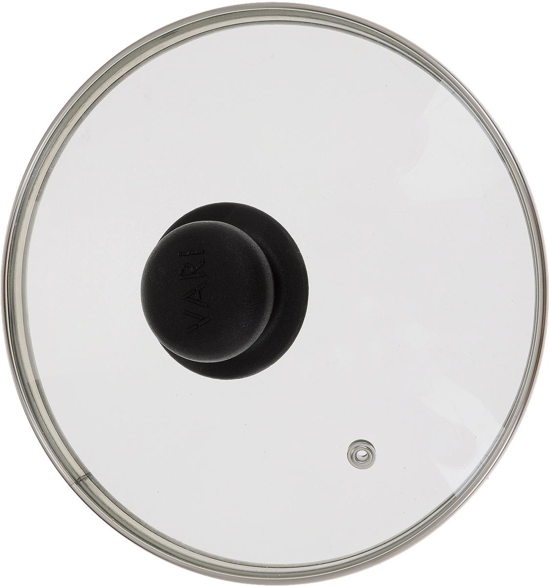Крышка Vari, диаметр 20 см391602Крышка Vari изготовлена из жаропрочного стекла с ободом из нержавеющей стали и пластиковой ручкой. Она оснащена отверстием для выпуска пара. Окантовка предохраняет от механических повреждений. Изделие удобно в использовании и позволяет контролировать процесс приготовления пищи.