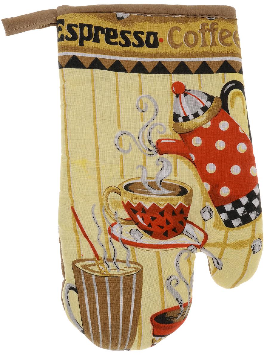 Варежка-прихватка Home Queen Espresso, 17 х 27 смVT-1520(SR)Варежка-прихватка Home Queen Espresso - незаменимый помощник на любой кухне. Варежка выполнена из натурального 100% хлопка и оформлена красивым рисунком. Задняя сторона простегана, что позволяет наполнителю не скатываться со временем. Варежка мягкая, удобная и практичная. С ее помощью можно доставать горячие противни из духовки, она защитит ваши руки и предотвратит появление ожогов. Красочный дизайн позволит красиво дополнить интерьер кухни. С помощью петельки варежку можно подвесить на крючок.