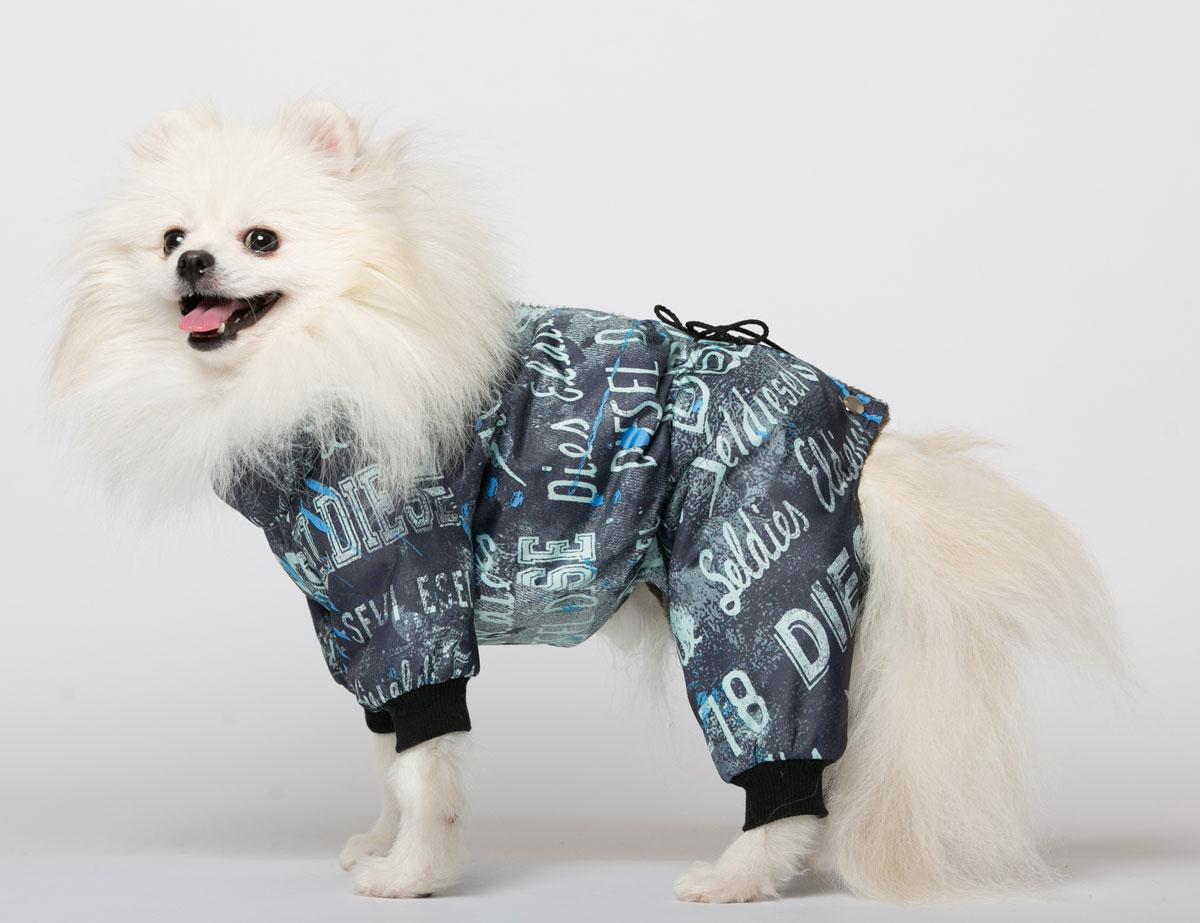Комбинезон для собак Yoriki Дизель, для мальчика, цвет: синий, мятный. Размер LDM-160108-3Комбинезон для собак Yoriki Дизель отлично подойдет для прогулок в прохладную погоду осенью или весной. Верх комбинезона выполнен из водоотталкивающего полиэстера. Подкладка изготовлена из искусственного меха. Низ рукавов и брючин оснащен широкими стильными манжетами. Застегивается комбинезон на спине на кнопки и дополнительно на пояснице затягивается шнурком. Благодаря такому комбинезону вашему питомцу будет комфортно наслаждаться прогулкой.Обхват шеи: 27-31 см.Длина по спинке: 29 см.Объем груди: 41-47 см.