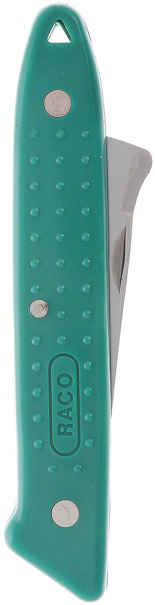 Нож садовода Raco, складной, 17,5 см4204-53/121BНож садовода Raco используется для работ по прививке деревьев. Лезвие выполнено из высококачественной нержавеющей стали. Нож оснащен удобной пластиковой рукояткой. Складная конструкция позволяет компактно хранить и переносить изделие.Длина ножа (в сложенном виде): 11,5 см.Длина ножа (в разложенном виде): 17,5 см.