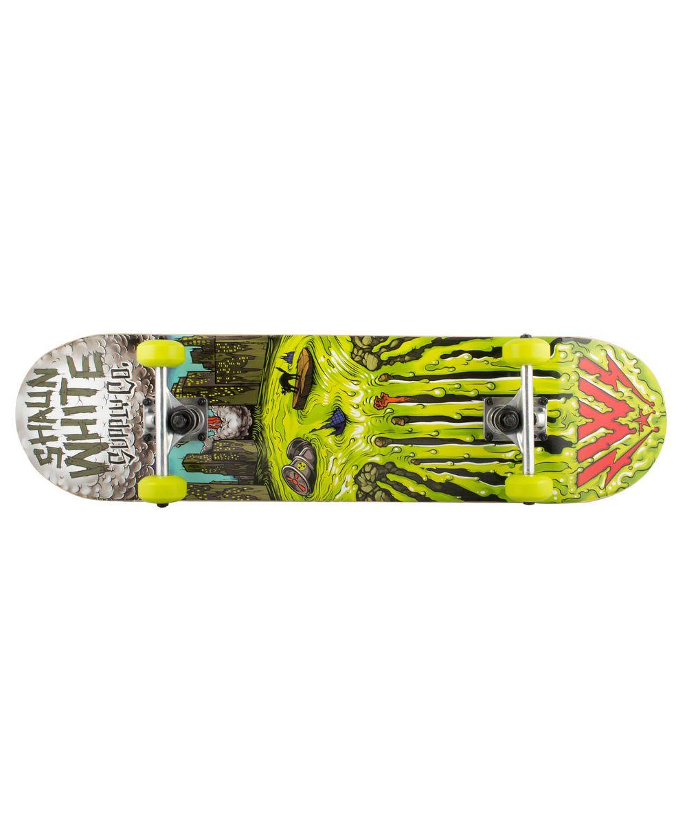 Скейтборд Shaun WHITE-5 Channel, 31,5Х8, ABEC-5TLS-401M_TM010Скейтборд Channel, 31,5Х8- это скейтборд для подростков и взрослых, тех, кто продолжает осваивать или уверенно стоит на доске. На данной доске уже можно уверенно учиться трюкам, так как в конструкции скейта присутствует алюминиевая подвеска, стойкая к ударам и износу.Наличие подшипников ABEC 5 создает более комфортное движение самоката, чем у его предшественников с ABEC 3. Алюминиевая подвеска, ПВХ колеса, 31-ти дюймовая дека, индивидуальный дизайн.Технические характеристики:Дека:китайский клен, 9 слоевРазмер деки:31,5 дюймаМаксимальный вес пользователя, кг:100Подвеска:алюминийКолеса:PVCПодшипники:ABEC-5Производство:КНР