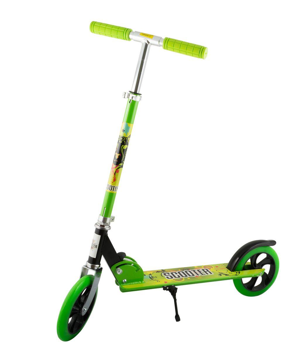 Самокат 2-колесный SC-02 (200 мм), цвет: зеленыйУТ-00008288Самокат 2-х колесный SC-02 (200 мм) - это двухколесная модель с колесами 200-мм для взрослых и детей. Эргономичные резиновые грипсы. Телескопический руль. Удобная система складывания. Алюминиевая дека. Металлический тормоз. Полиуретановые 200-мм колеса. Подножка для устойчивости самоката. Подшипники ABEC 7 для быстрой и плавной езды.Технические характеристики:Дека: алюминийРучки: резинаРуль: алюминийМатериал колеса (внутр): полипропиленМатериал колеса (внешний): полиуретанРегулировка руля: естьСистема складывания: естьРазмер колеса, мм: 200Подшипники: Abec-7Цвет: зеленыйВес, гр: 3350Производство: КНР