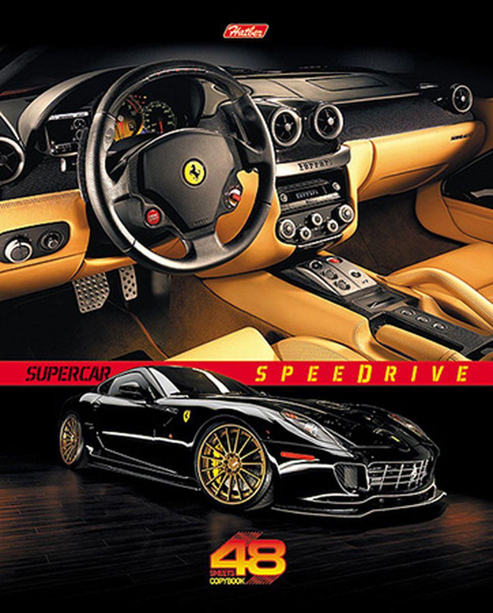 Hatber Тетрадь Super car 48 листов в клетку цвет машины оранжевый72523WDТетрадь Hatber Super Car подойдет для школьников и студентов.Обложка, выполненная из плотного картона, позволит сохранить тетрадь в аккуратном состоянии на протяжении всего времени использования. Лицевая сторона дополнена изображением стильного авто марки Ferrari.Внутренний блок тетради, соединенный двумя металлическими скрепками, состоит из 48 листов белой бумаги. Стандартная линовка в клетку голубого цвета дополнена полями.
