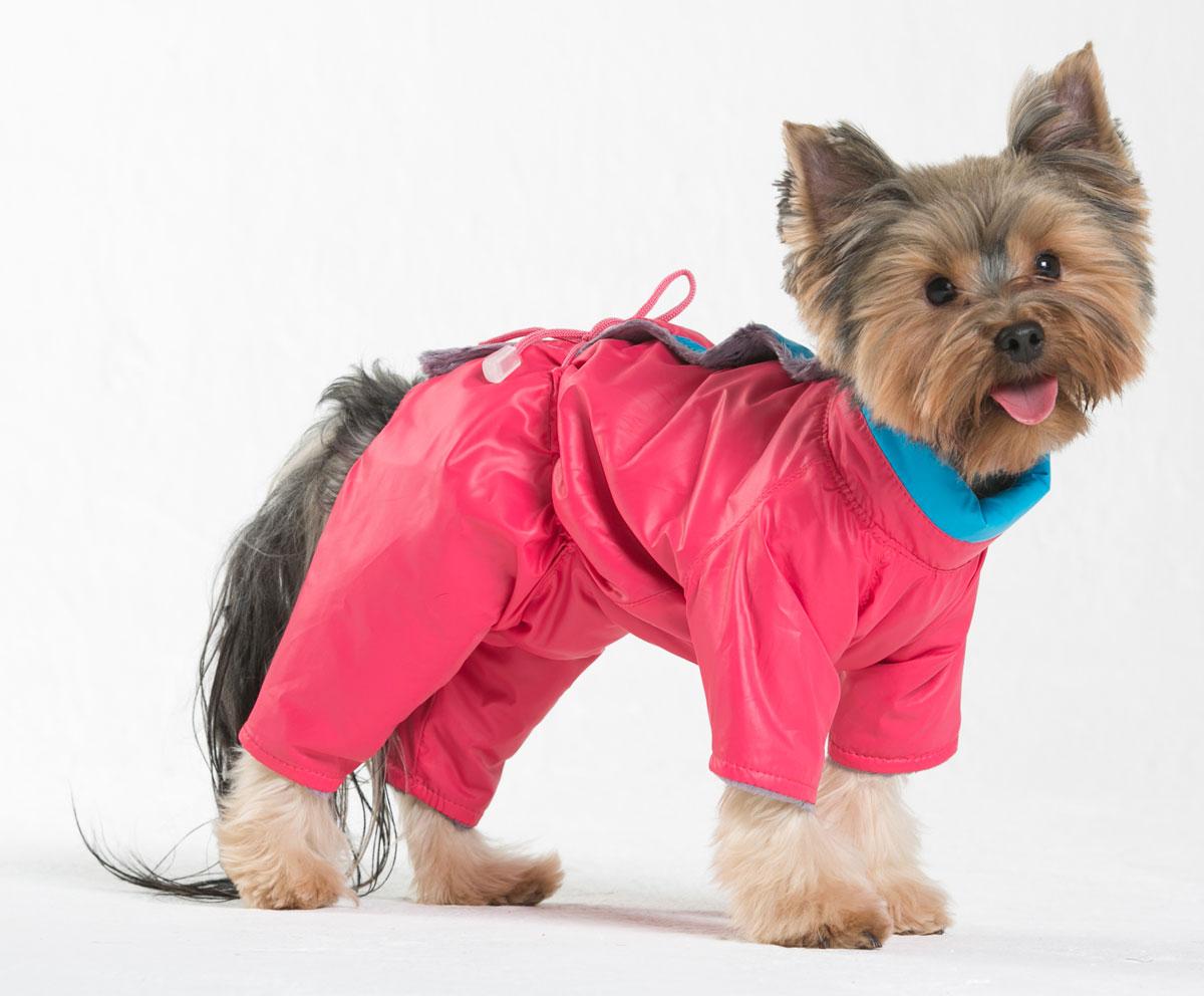 Комбинезон для собак Yoriki Флирт, для девочки, цвет: розовый. Размер S0120710Комбинезон для собак Yoriki Флирт отлично подойдет для прогулок в прохладную погоду осенью или весной. Верх комбинезона выполнен из водоотталкивающего полиэстера. Подкладка изготовлена из искусственного меха. Застегивается комбинезон на спине на кнопки и дополнительно на пояснице затягивается шнурком. Благодаря такому комбинезону вашему питомцу будет комфортно наслаждаться прогулкой.Обхват шеи: 20-24 см.Длина по спинке: 21 см.Объем груди: 29-36 см.