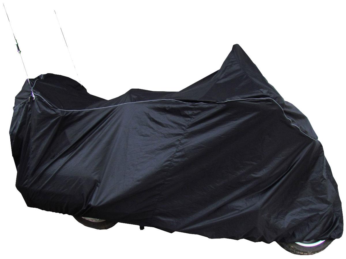 Чехол AG-brand для мотоцикла Honda GL1800 Gold Wing, цвет: черныйKGB GX-3Чехол специально разработан для мотоцикла Honda GL1800 Gold Wing. Чехол для мотоцикла имеет клапаны на молнии для антенн, изготовлен из высокопрочной непромокаемой ткани. Резинка у переднего и заднего колес в совокупности с застежкой снизу мотоцикла не позволит самым сильным порывам ветра сорвать чехол.Светоотражающий кант сделает чехол более заметным на стоянке в темное время суток.