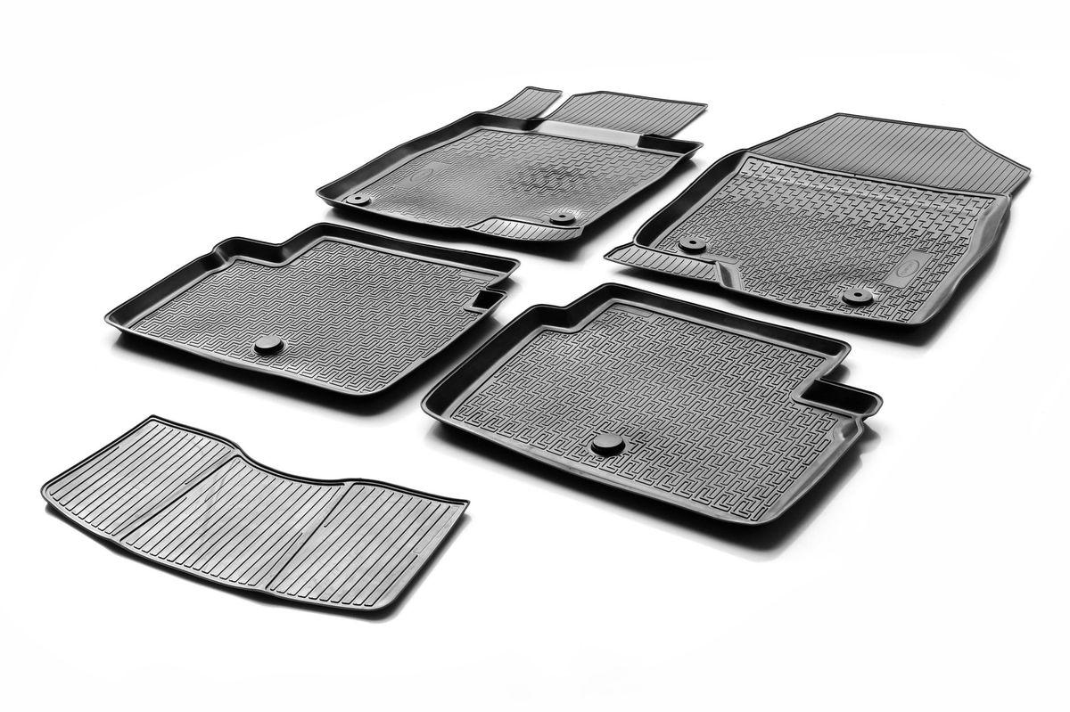 Коврики салона Rival для Mazda 3 (HB, SD) 2013-, c перемычкой, полиуретанCA-3505Прочные и долговечные коврики Rival в салон автомобиля, изготовлены из высококачественного и экологичного сырья, полностью повторяют геометрию салона вашего автомобиля.- Надежная система крепления, позволяющая закрепить коврик на штатные элементы фиксации, в результате чего отсутствует эффект скольжения по салону автомобиля.- Высокая стойкость поверхности к стиранию.- Специализированный рисунок и высокий борт, препятствующие распространению грязи и жидкости по поверхности коврика.- Перемычка задних ковриков в комплекте предотвращает загрязнение тоннеля карданного вала.- Произведены из первичных материалов, в результате чего отсутствует неприятный запах в салоне автомобиля.- Высокая эластичность, можно беспрепятственно эксплуатировать при температуре от -45 ?C до +45 ?C.Уважаемые клиенты!Обращаем ваше внимание,что коврики имеет формусоответствующую модели данного автомобиля. Фото служит для визуального восприятия товара.