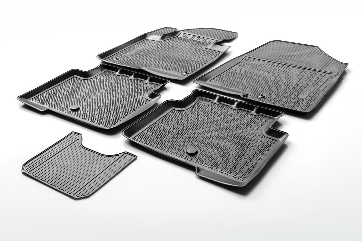 Коврики салона Rival для Nissan Terrano (4WD) 2014-2016, 2016-/Terrano (2WD) 2016-, c перемычкой, полиуретан14108001Прочные и долговечные коврики Rival в салон автомобиля, изготовлены из высококачественного и экологичного сырья, полностью повторяют геометрию салона вашего автомобиля.- Надежная система крепления, позволяющая закрепить коврик на штатные элементы фиксации, в результате чего отсутствует эффект скольжения по салону автомобиля.- Высокая стойкость поверхности к стиранию.- Специализированный рисунок и высокий борт, препятствующие распространению грязи и жидкости по поверхности коврика.- Перемычка задних ковриков в комплекте предотвращает загрязнение тоннеля карданного вала.- Произведены из первичных материалов, в результате чего отсутствует неприятный запах в салоне автомобиля.- Высокая эластичность, можно беспрепятственно эксплуатировать при температуре от -45 ?C до +45 ?C.Уважаемые клиенты!Обращаем ваше внимание,что коврики имеет формусоответствующую модели данного автомобиля. Фото служит для визуального восприятия товара.