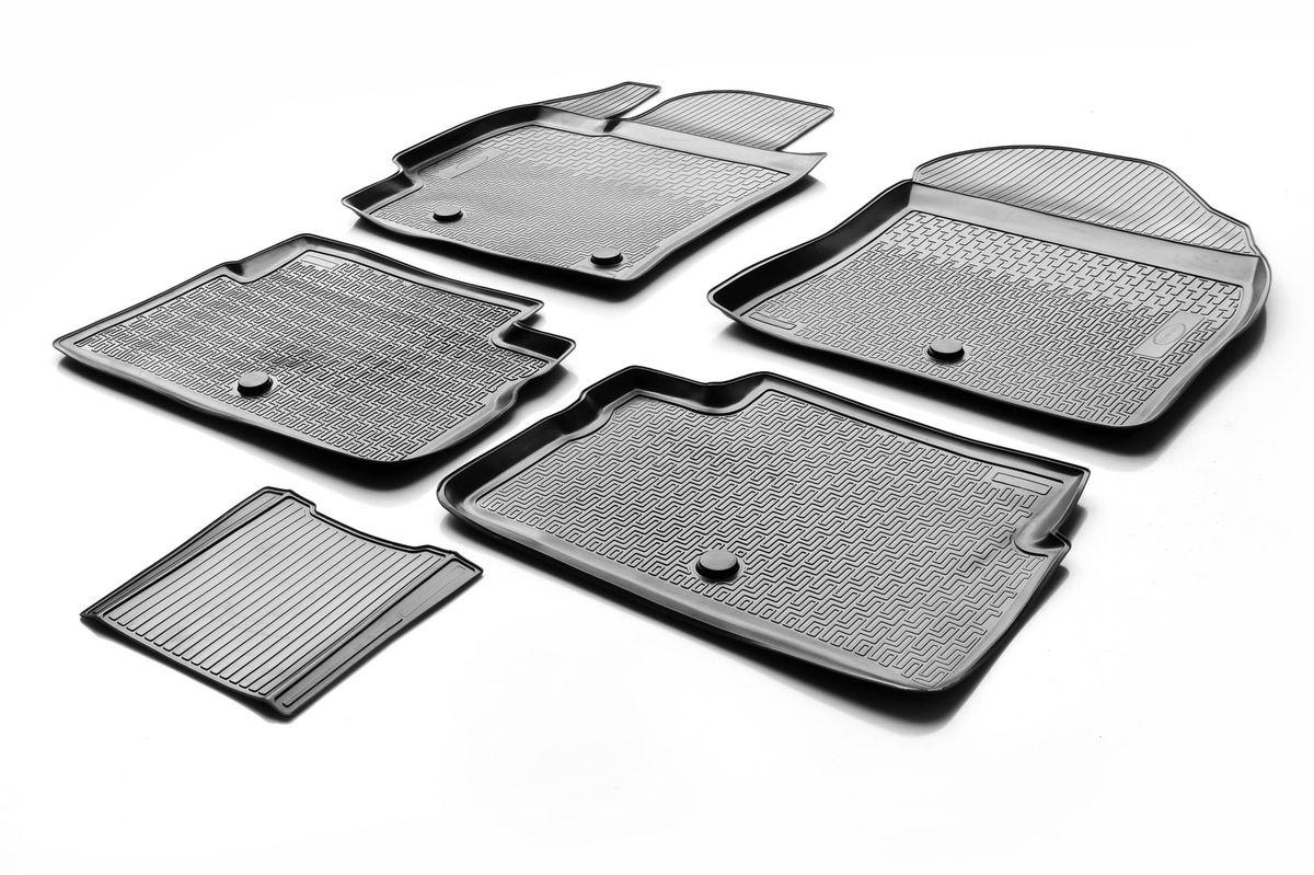 Коврики салона Rival для Toyota Corolla 2013-, c перемычкой, полиуретан21395599Прочные и долговечные коврики Rival в салон автомобиля, изготовлены из высококачественного и экологичного сырья, полностью повторяют геометрию салона вашего автомобиля.- Надежная система крепления, позволяющая закрепить коврик на штатные элементы фиксации, в результате чего отсутствует эффект скольжения по салону автомобиля.- Высокая стойкость поверхности к стиранию.- Специализированный рисунок и высокий борт, препятствующие распространению грязи и жидкости по поверхности коврика.- Перемычка задних ковриков в комплекте предотвращает загрязнение тоннеля карданного вала.- Произведены из первичных материалов, в результате чего отсутствует неприятный запах в салоне автомобиля.- Высокая эластичность, можно беспрепятственно эксплуатировать при температуре от -45 ?C до +45 ?C.Уважаемые клиенты!Обращаем ваше внимание,что коврики имеет формусоответствующую модели данного автомобиля. Фото служит для визуального восприятия товара.