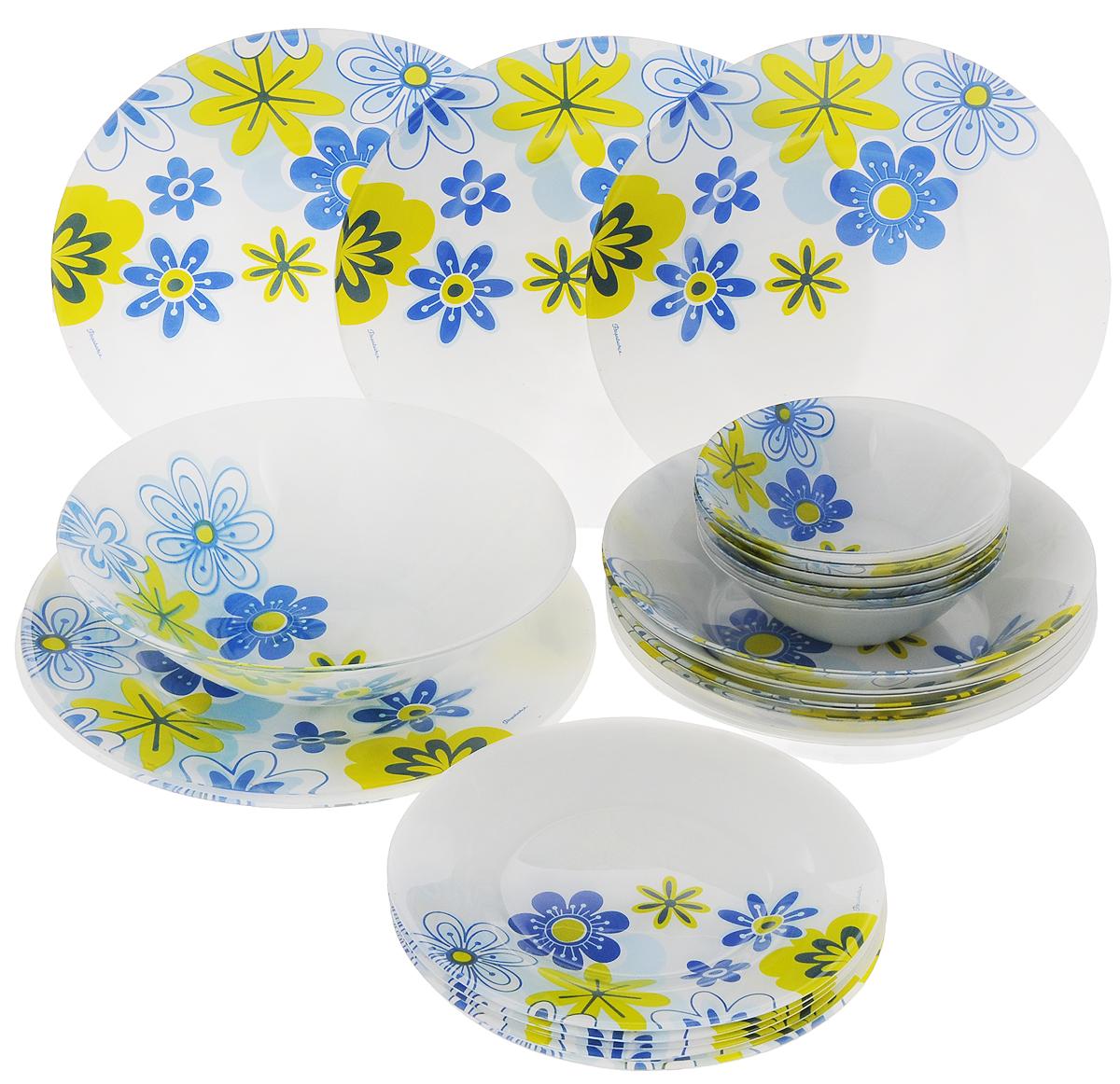Набор столовой посуды Pasabahce Workshop Spring, 25 предметов95665BСтоловый набор Pasabahce Workshop Spring состоит из шести суповых тарелок, шести десертных тарелок, шести обеденных тарелок и семи салатников. Предметы набора выполнены из натрий-кальций-силикатного стекла, благодаря чему посуда будет использоваться очень долго, при этом сохраняя свой внешний вид. Предметы набора имеют повышенную термостойкость. Набор создаст отличное настроение во время обеда, будет уместен на любой кухне и понравится каждой хозяйке. Красочное оформление предметов набора придает ему оригинальность и торжественность. Практичный и современный дизайн делает набор довольно простым и удобным в эксплуатации.Предметы набора можно мыть в посудомоечной машине.Диаметр суповой тарелки: 22 см.Высота стенок суповой тарелки: 5 см.Диаметр обеденной тарелки: 26 см.Высота обеденной тарелки: 2 см.Диаметр десертной тарелки: 20 см.Высота десертной тарелки: 1,5 см.Диаметр большого салатника: 23 см.Высота стенок большого салатника: 6,5 см.Диаметр малого салатника: 14 см.Высота стенок салатника: 4,5 см.