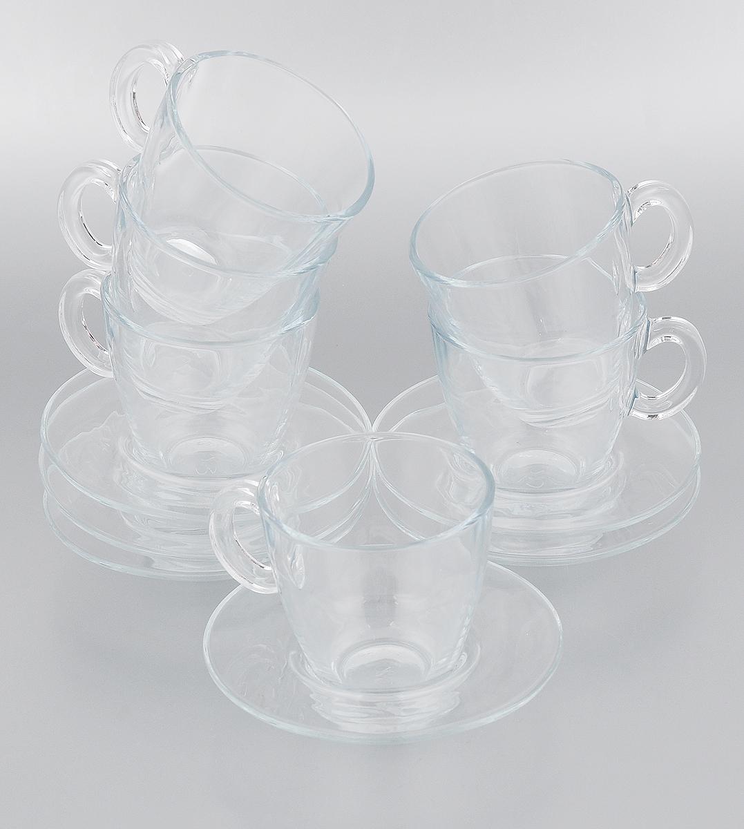 Набор чайный Pasabahce Aqua, 12 предметов115510Чайный набор Pasabahce Aqua состоит из шести чашек и шести блюдец. Предметы набора изготовлены из прочного натрий-кальций-силикатного стекла. Изящный чайный набор великолепно украсит стол к чаепитию и порадует вас и ваших гостей ярким дизайном и качеством исполнения.Можно использовать в микроволновой печи, в холодильнике и мыть в посудомоечной машине.Диаметр чашки по верхнему краю: 8 см.Высота чашки: 8 см.Объем чашки: 215 мл.Диаметр блюдца: 13 см.Высота блюдца: 2,5 см.