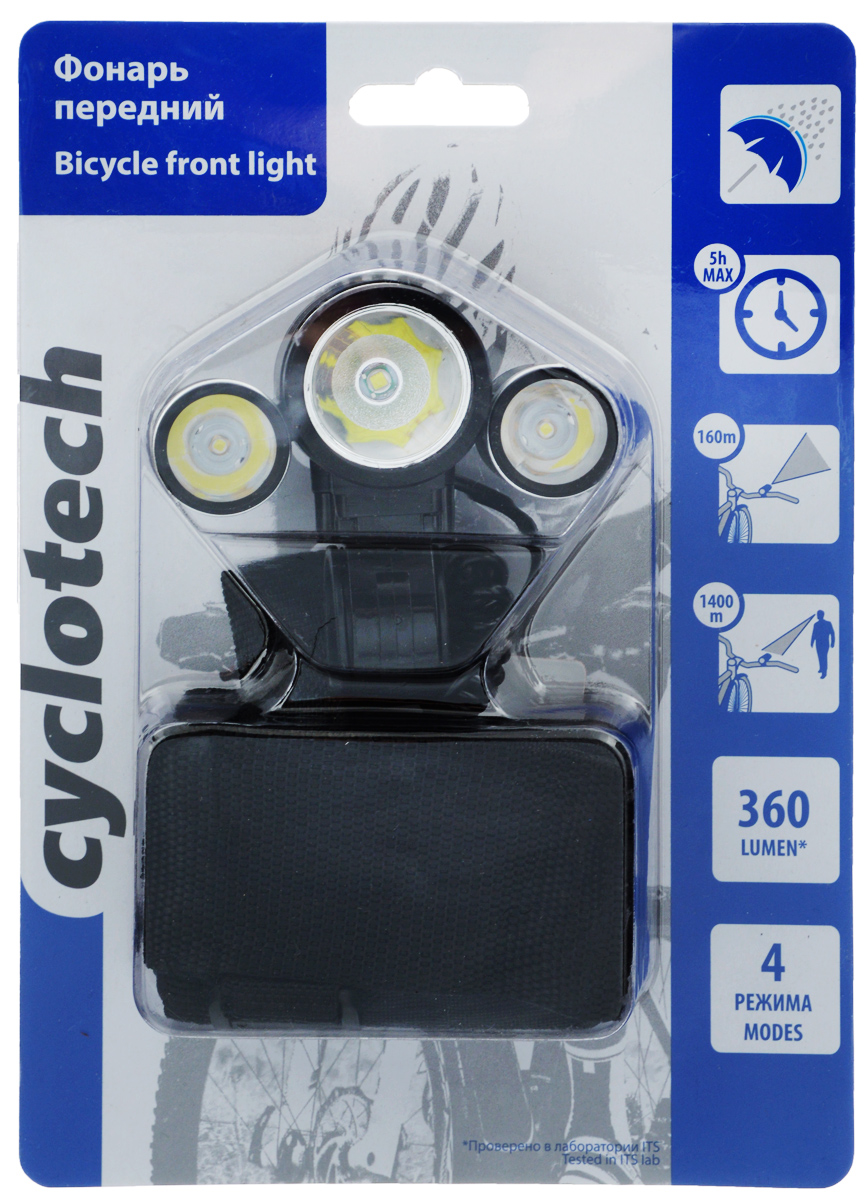 Фонарь велосипедный Cyclotech, передний. CFL-03109blueВелосипедный фонарь Cyclotech, оснащенный выносным аккумулятором и зарядным устройством, имеет 3 светодиода, которые обеспечивают широкий и яркий пучок света. Изделие имеет 4 режима свечения. Максимальное время работы: 5 часов.Время зарядки батареи: 9 ч.Максимальная дальность свечения: 160 м.Максимальная видимость: 1400 м.