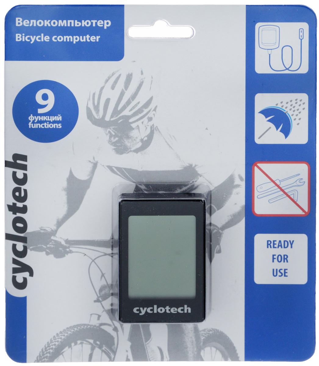 Велокомпьютер Cyclotech, 9 функций010-01063-01Проводной велокомпьютер Cyclotech оснащен девятью функциями и предназначен для использования при занятиях велоспортом. Это удобный и простой в использовании электронный прибор, предоставляющий велосипедисту всю необходимую информацию о поездке. Велокомпьютер крепится на руле с возможностью мгновенно отсоединить его, когда нет желания оставлять на велосипеде без присмотра или под дождем. Функции: сравнение скоростей; текущий пробег; задание дистанций; память на два велосипеда; время в пути; часы; режим энергосбережения; автоматический старт измерений; возможность конвертации из миль в километры и обратно.