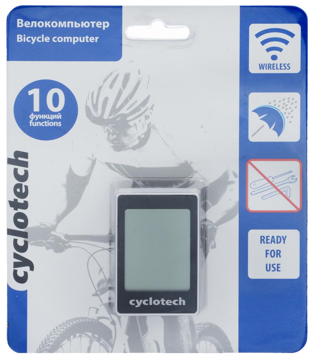 Велокомпьютер Cyclotech, 10 функцийC014Беспроводной велокомпьютер Cyclotech оснащен 10 функциями и предназначен для использования при занятиях велоспортом. Это удобный и простой в использовании электронный прибор, предоставляющий велосипедисту всю необходимую информацию о поездке. Велокомпьютер крепится на руле с возможностью мгновенно отсоединить его, когда нет желания оставлять на велосипеде без присмотра или под дождем. Функции: сравнение скоростей; индикатор низкой зарядки батарей; режим сканирования; память на два велосипеда; автоматическое выключение; часы; режим энергосбережения; время текущей поездки; расчет экономии СО2.