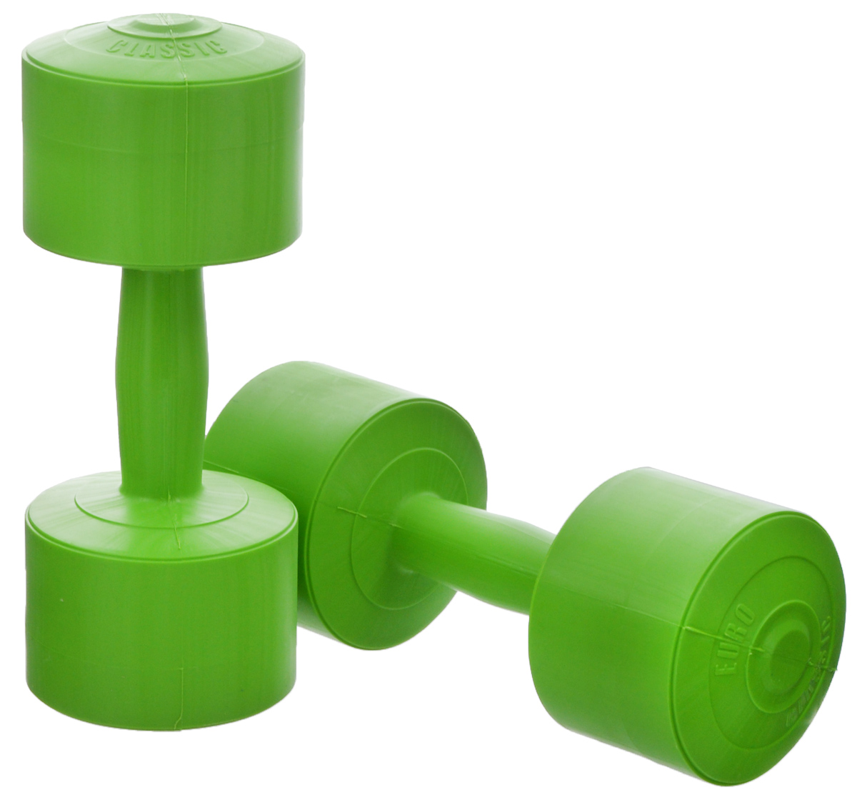 Гантели виниловые Euro-Classic, цвет: зеленый, 3 кг, 2 штSF 0085Гантели Euro-Classic идеально подходят как для тренировок дома, так и в офисе. Гантели помогают укрепить мышцы рук, грудной клетки, верхней части спины и плеч. Внешнее покрытие изделий выполнено из прочного ПВХ, наполнитель - композитная смесь цемента и песка.