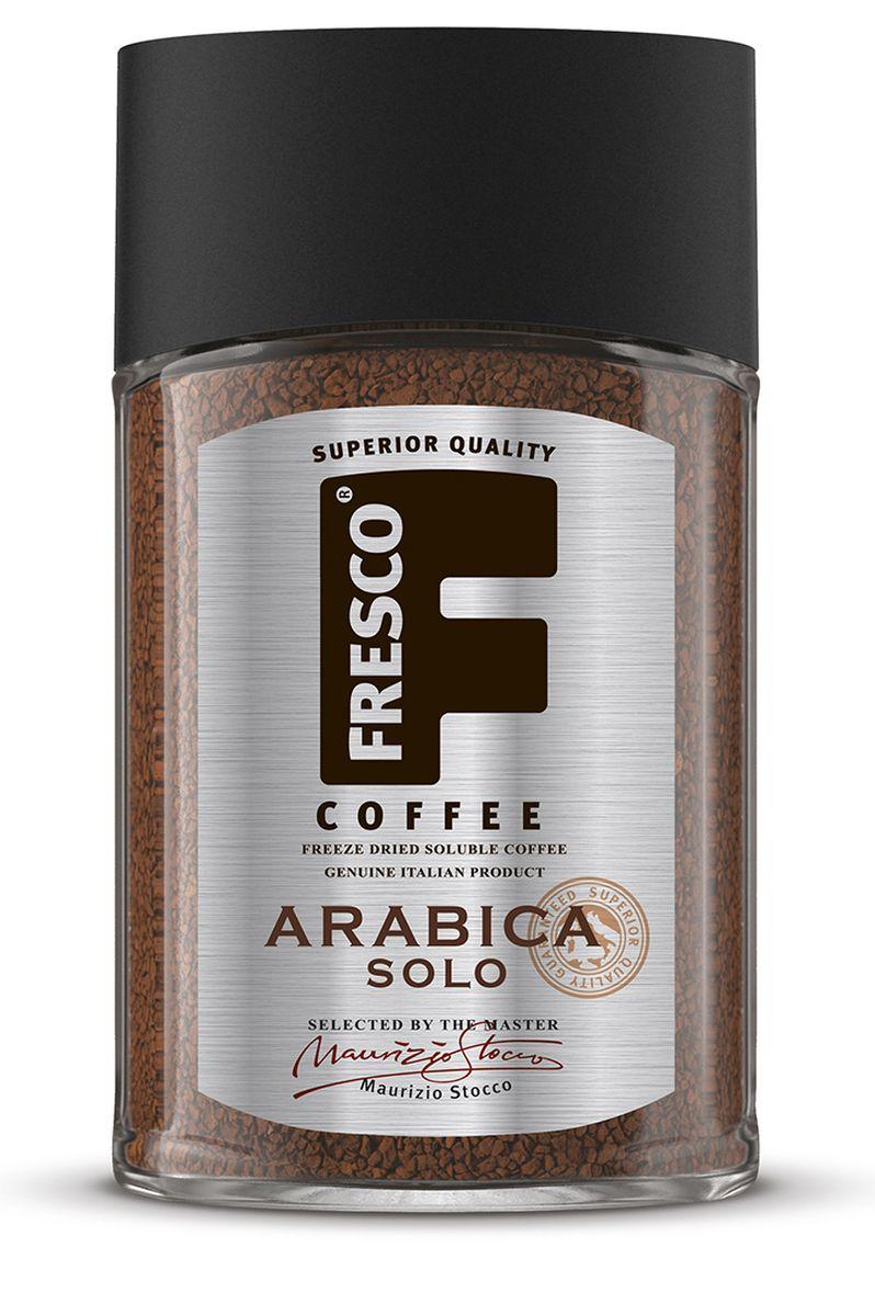 Fresco Arabica Solo кофе растворимый, 100 г0120710Крепкий, ароматный, насыщенный кофе Fresco Arabica Solo приготовлен из отобранных мастером Ирга Чеффе зерен, выращенных на плантациях Эфиопии. Во вкусе присутствует приятная легкая и ярко выраженная горчинка. Отличный кофе для пробуждения.