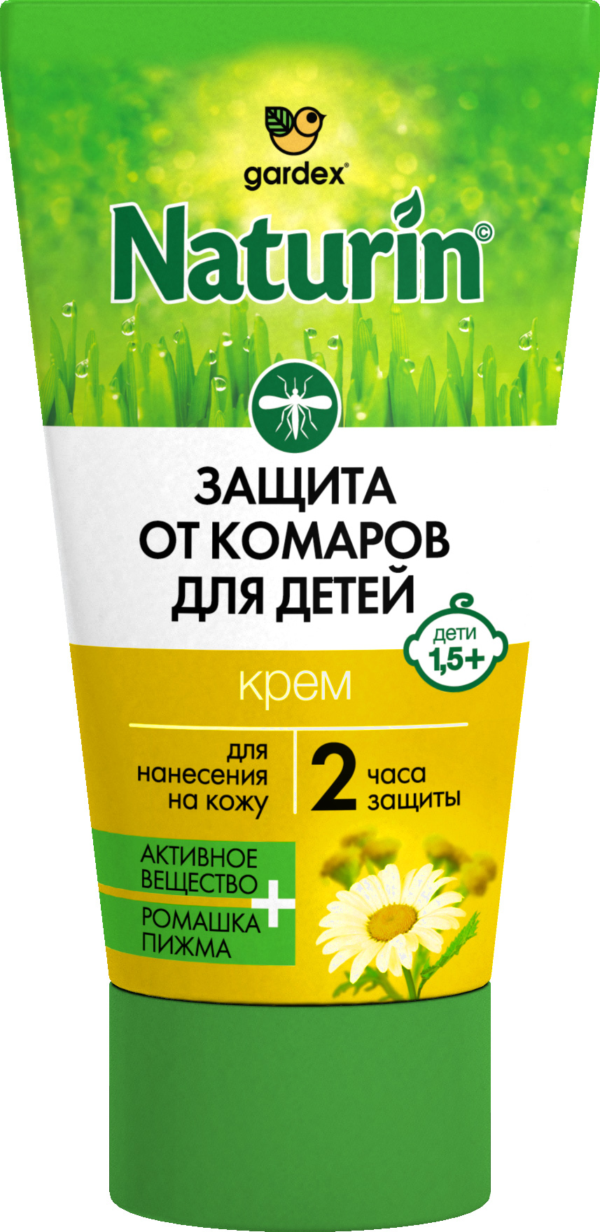 Крем-гель от комаров Naturin, 40 мл38580120Крем для детей от 1,5 летЗащищает от укусов комаров, мокрецов и москитовВремя защиты – 2 часа при нанесении на кожуСодержит 5% ДэтыНе содержит спиртаС эфирным маслом и экстрактами растений – ромашка и пижма