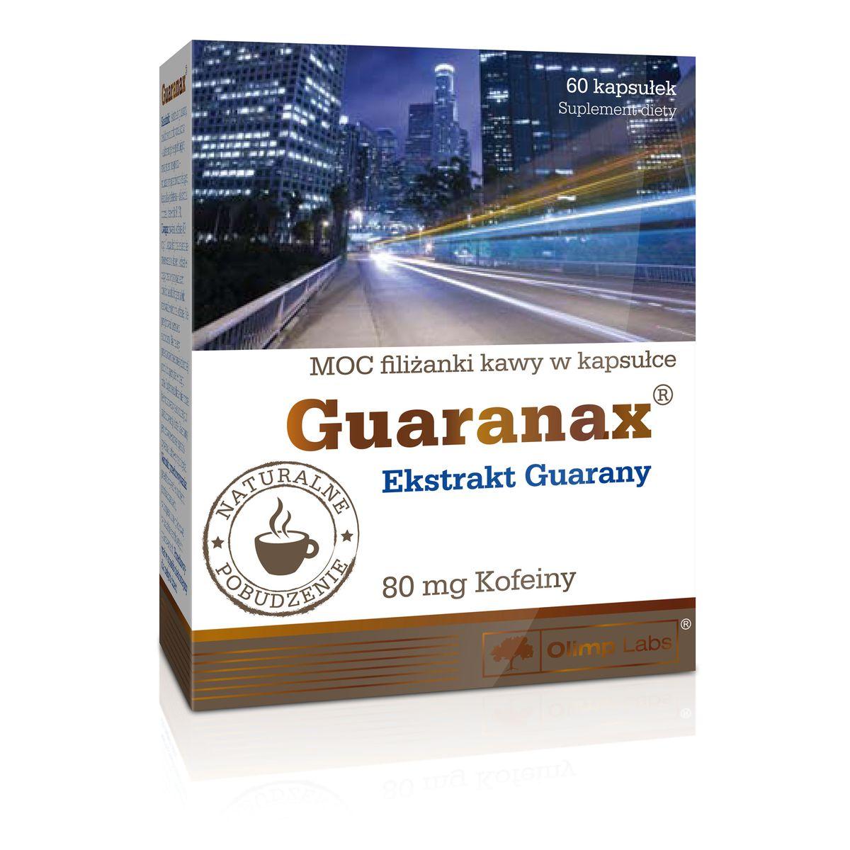 Энергетик Olimp Sport Nutrition Guaranax, 60 капсулO14345Olimp Sport Nutrition Guaranax – это универсальный энергетик, содержащий кофеин, полученный из экстракта гуараны. Гуарана – растение, произрастающее в Бразилии и Уругвае, его плоды, напоминающие орех фундук, содержат до 6% кофеина. Кофеин является подходящим большинству людей эффективным стимулятором, который увеличивает концентрацию, внимание и инициативность – со стороны ЦНС, а также физическую активность и силовые показатели.Olimp Sport Nutrition Guaranax рекомендуется людям, которые выполняют ответственную работу в ночное время суток (например, вождение автотранспорта) или просто хотят взбодриться. Перед тренировкой энергетик поможет эффективнее тренироваться и повысит силовые показатели (особенно в комбинации с креатином). В отличии от многих энергетиков, Olimp Sport Nutrition Guaranax удобен в подборе подходящей дозировки, 1 капсула содержит небольшое количество кофеина – 80 мг (приблизительно как 1 чашка кофе).Рекомендации по применению: чтобы поддерживать высокую психологическую и физическую активность принимают от 1 до 4 капсул ежедневно, для уменьшения жировой ткани 1 капсулу утром и 1 перед занятиями спортом, но в первой половине дня.Предупреждение: не принимать более 4 капсул в сутки. Не предназначено для приема во время беременности или кормления грудью. Не применять в случае сердечно-сосудистых заболеваний, при повышенной чувствительности к кофеину и при приеме алкоголя!Состав: экстракт гуараны, микрокристаллическяа целлюлоза, магния стеарат, желатин.Товар сертифицирован.