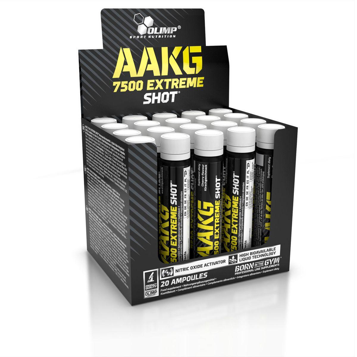 OLIMP ААКГ Икстрим Шот, 20 х 25 мл, вишняSF 0085Впервые на рынке, высокая дозировка аргинин альфа-кетоглутарата - 7550 мг в одной ампуле. AAKG 7500 Extreme Shot идеально подходит для стимуляции сил, рост массы и жесткости. AAKG Extreme в виде легко усваивающейся формы - аргинин альфа-кетоглутарата. Аргинин образует в организме оксид азот(NO). Он важен для построения рельефного тела, развитие функциональных возможностей и сохранения сексуальной деятельности. Аргинин обеспечивает достаточный приток крови, кислорода и питательных веществ к мышечной ткани, а также способствует росту мышц, сжиганию жировой ткани и увеличению эрекции. Клинические исследования доказали, что прием 2г аргинина в течение 5 недель, приводит к значительному (в сравнении с контрольной группой) увеличению силы и росту мышечной массы, а также снижение жиров и продуктов белкового распада.Рекомендации по применению:Пейте по пол ампулы перед тренировкой и после нее.