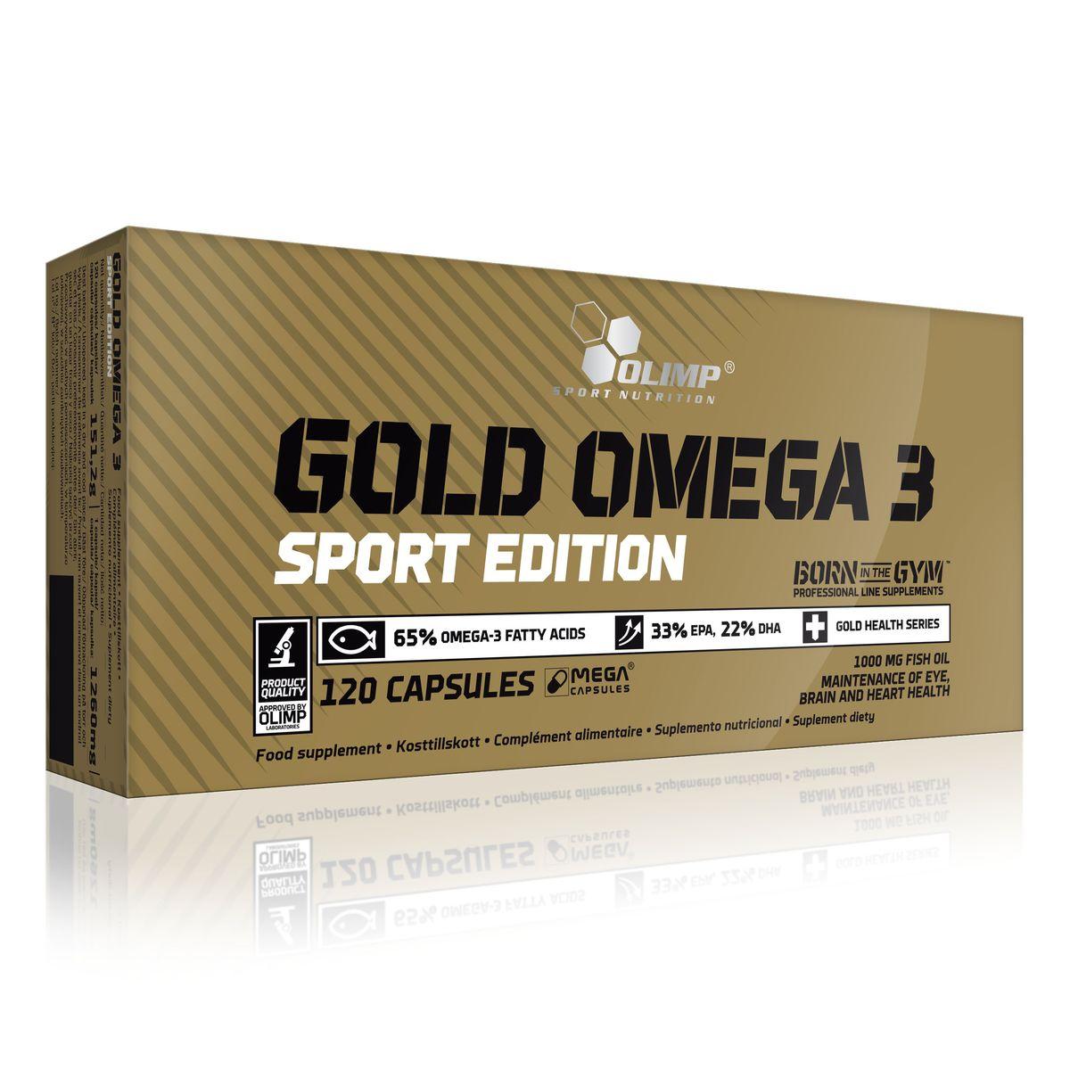 OLIMP ГОЛД Омега - 3 Спорт Эдишн 1000мг, 120 капсO30581Gold Omega 3 Sport Edition 3 от Olimp состоит из смеси рыбьего жира, богатыми EPA и DHA (эйкозапентаеновая и докозагексаеновая кислоты). Эти жирные кислоты очень полезны для организма, они являются незаменимыми, а значит должны поступать извне с пищей. Этот комплекс прежде всего играет огромную роль для работы сердечно-сосудистой системы и для работы мозга.Рекомендации по применению:Принимать по одной капсуле в день. Данный продукт рекомендуется для взрослых в качестве пищевой добавки. Не превышать рекомендуемую суточную норму. Хранить в недоступном для детей месте.