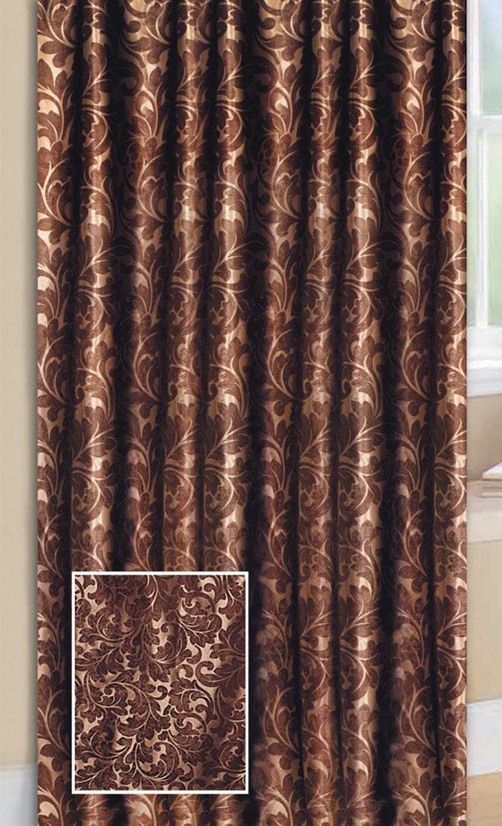 Штора Блэкаут, на ленте, цвет: шоколадный, высота 270 см77083Светонепроницаемая штора Блэкаут с классическим рисунком вензель впишется в любой интерьер, придаст покой и уют в солнечный день. Штора крепится на карниз при помощи ленты, которая поможет красиво и равномерно задрапировать верх.
