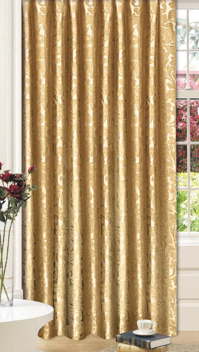 Штора Вензель, на ленте, цвет: золотой, высота 270 смVCA-00Светонепроницаемая штора Вензель с классическим рисунком вензель впишется в любой интерьер, придаст покой и уют в солнечный день. Штора крепится на карниз при помощи ленты, которая поможет красиво и равномерно задрапировать верх.