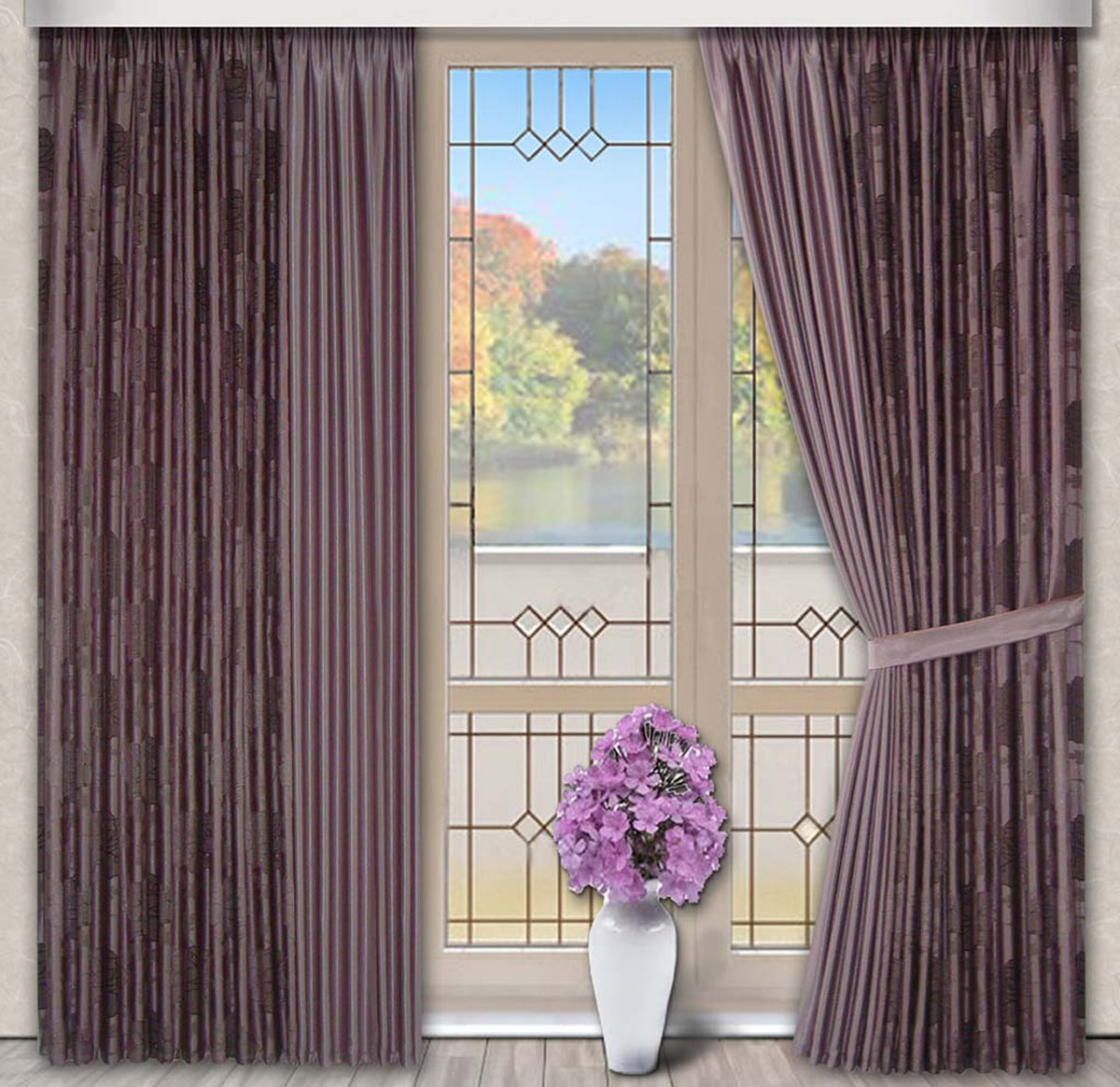 Комплект штор Роза, на ленте, цвет: сиреневый, высота 270 см956251325Портьерная ткань с жаккардовым рисунком по краю и в центре однотонная. Стирка не более 30 градусов.