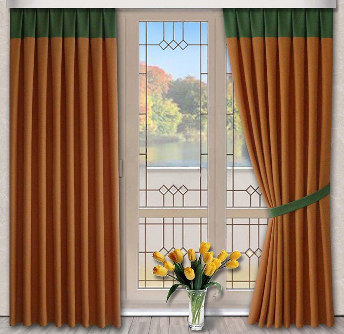 Комплект штор Кантри, на ленте, цвет: оранжевый, зеленый, высота 270 смS03301004Портьеры из плотной ткани под лён. Стирка не более 30 градусов.
