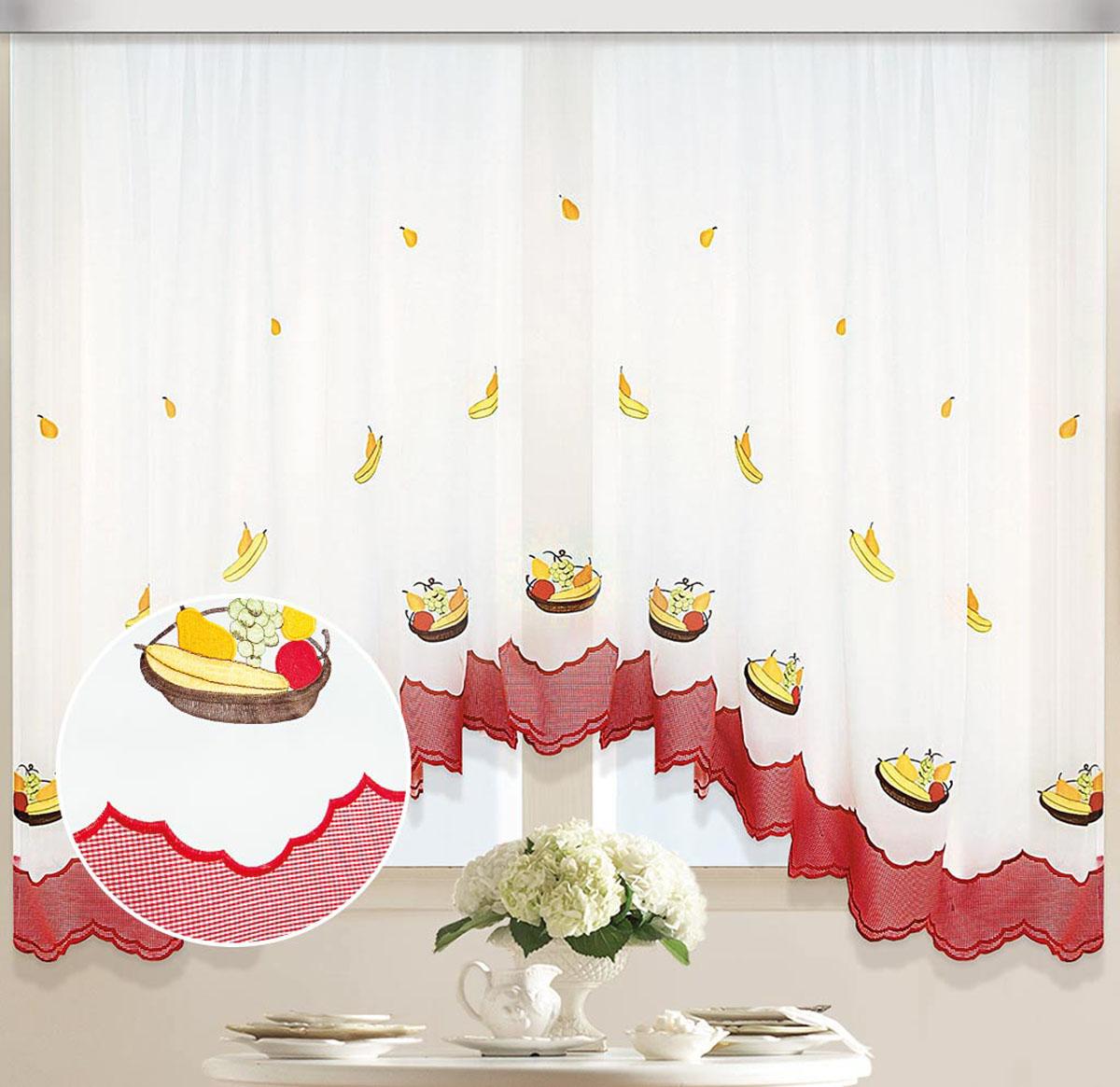 Штора Арка. Фруктовая корзинка, на ленте, цвет: белый, желтый , высота 170 смCLP446Вуалевое полотно с вышивкой. Стирка не более 30 градусов