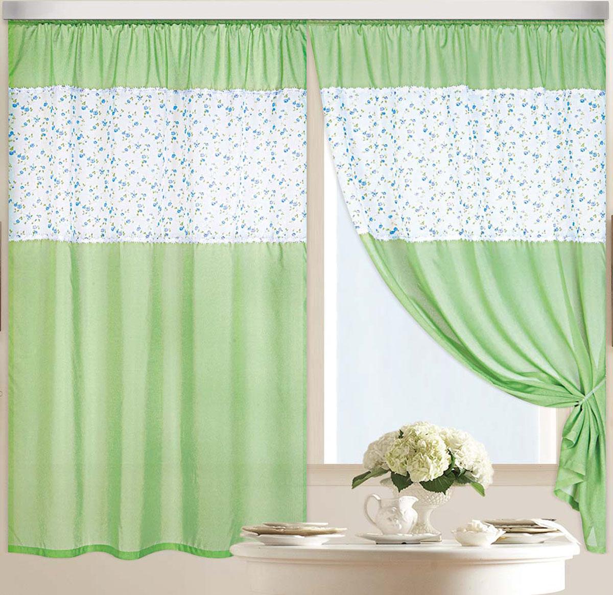 Штора Аромат лета, на ленте, цвет: зеленый, белый, синий, высота 180 смS03301004Легкая ткань под льняное полотно с кружевом в виде цветочков на швах. Стирка не более 30 градусов