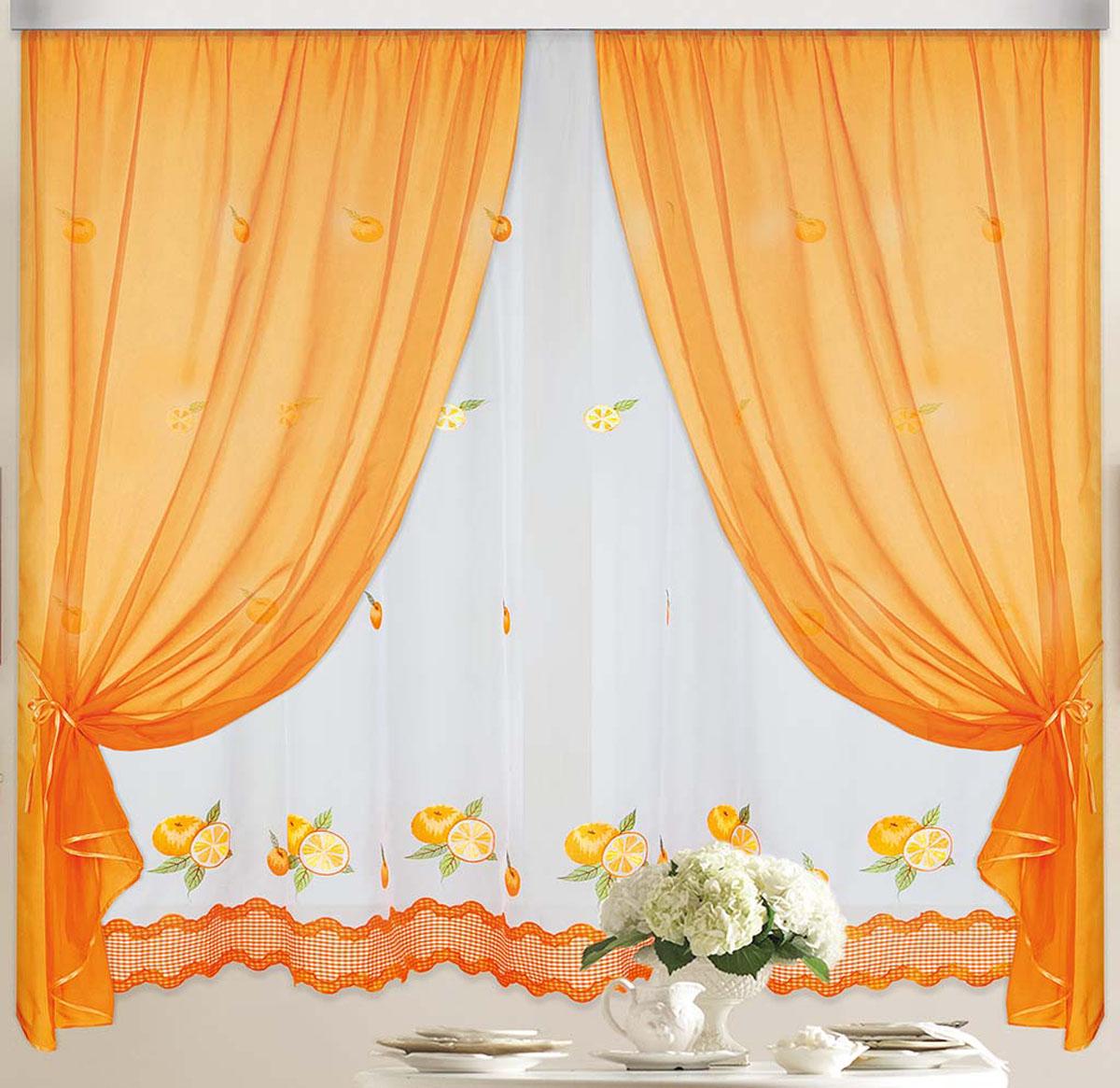 Штора Апельсин, на ленте, цвет: белый, оранжевый, высота 170 смSVC-300Вуалевое полотно с вышивкой. Стирка не более 30 градусов