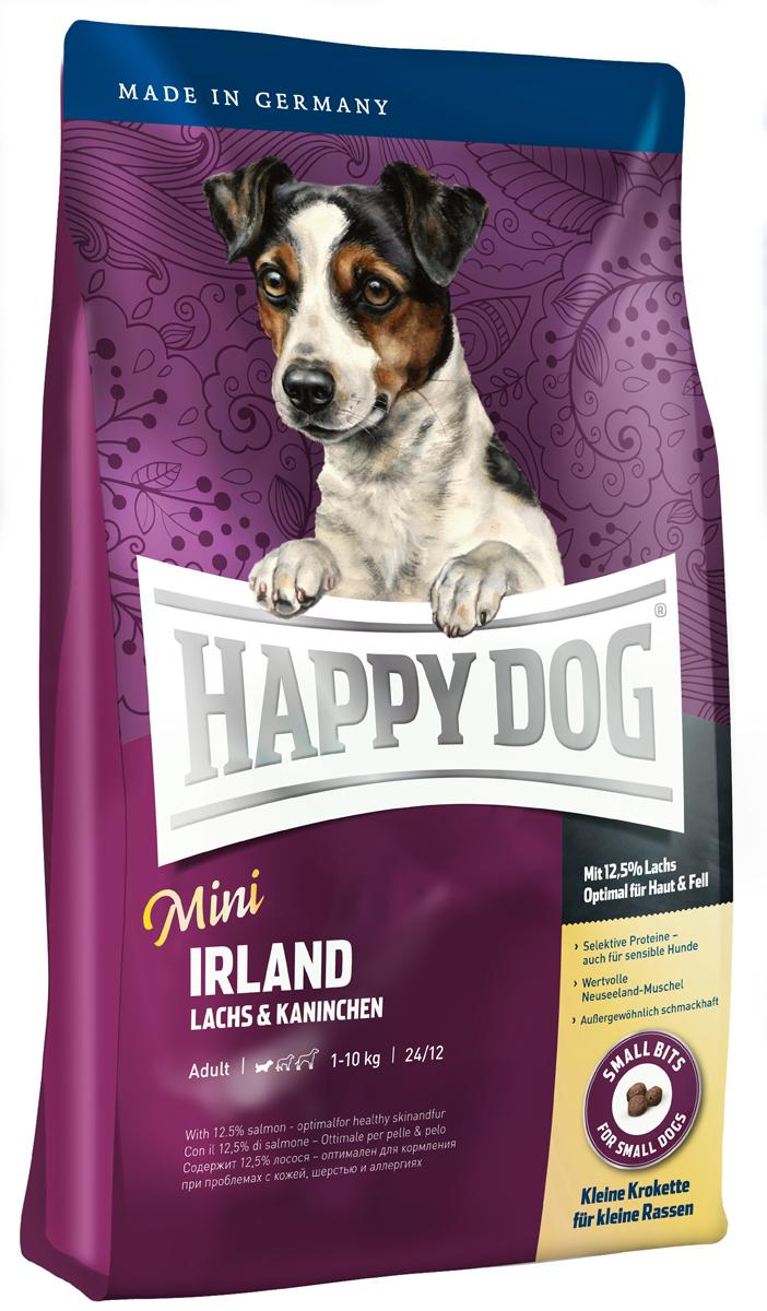 Happy Dog Mini Сухой корм для собак Ирландия Supreme Sensible, 4 кг0120710Всем лакомкам маленького размера, которые любят нестандартный корм, очень чувствительны или разборчивы в еде, Happy Dog предлагает уникальную возможность: необыкновенно вкусный полнорационный корм класса супер-премиум Mini Irland, содержащий благородное мясо лосося и вкусную крольчатину. Благодаря тщательно отобранным компонентам (без белка из мяса ягненка и птицы, без риса, сои и пшеницы), особо бережной технологии приготовления и оптимизированному уровню белков и калорий корм Happy Dog Mini Irland отлично подходит также для целенаправленного кормления чувствительных собак мелких пород с их специфическими потребностями. Очень маленькие крокеты идеально соответствуют форме челюстей мелких собак. Эта эксклюзивная рецептура дополняется уникальной формулой Natural Life Concept с натуральными составляющими.